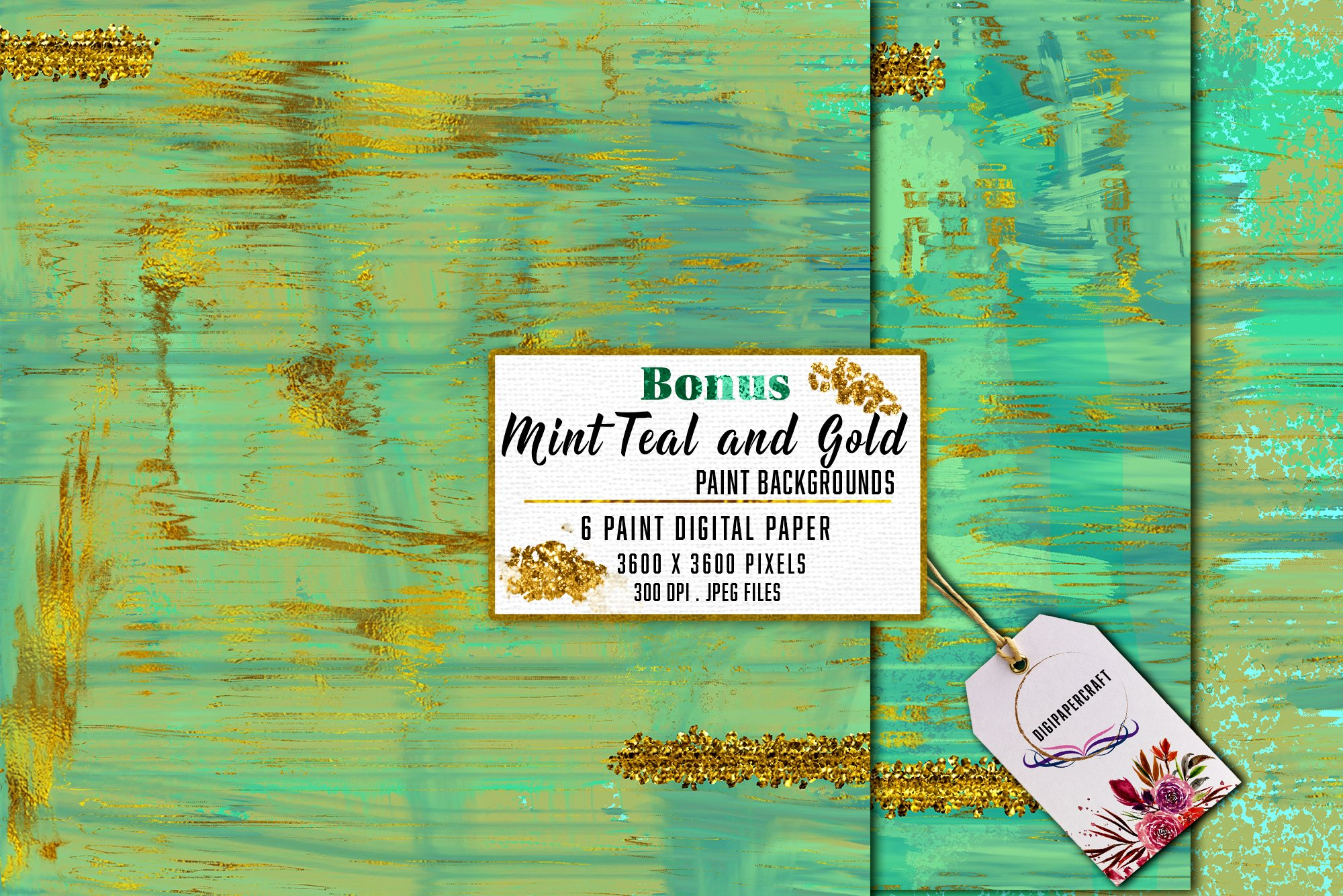 Gold Marble & watercolor geometric templates, Abstract Paper example image 9