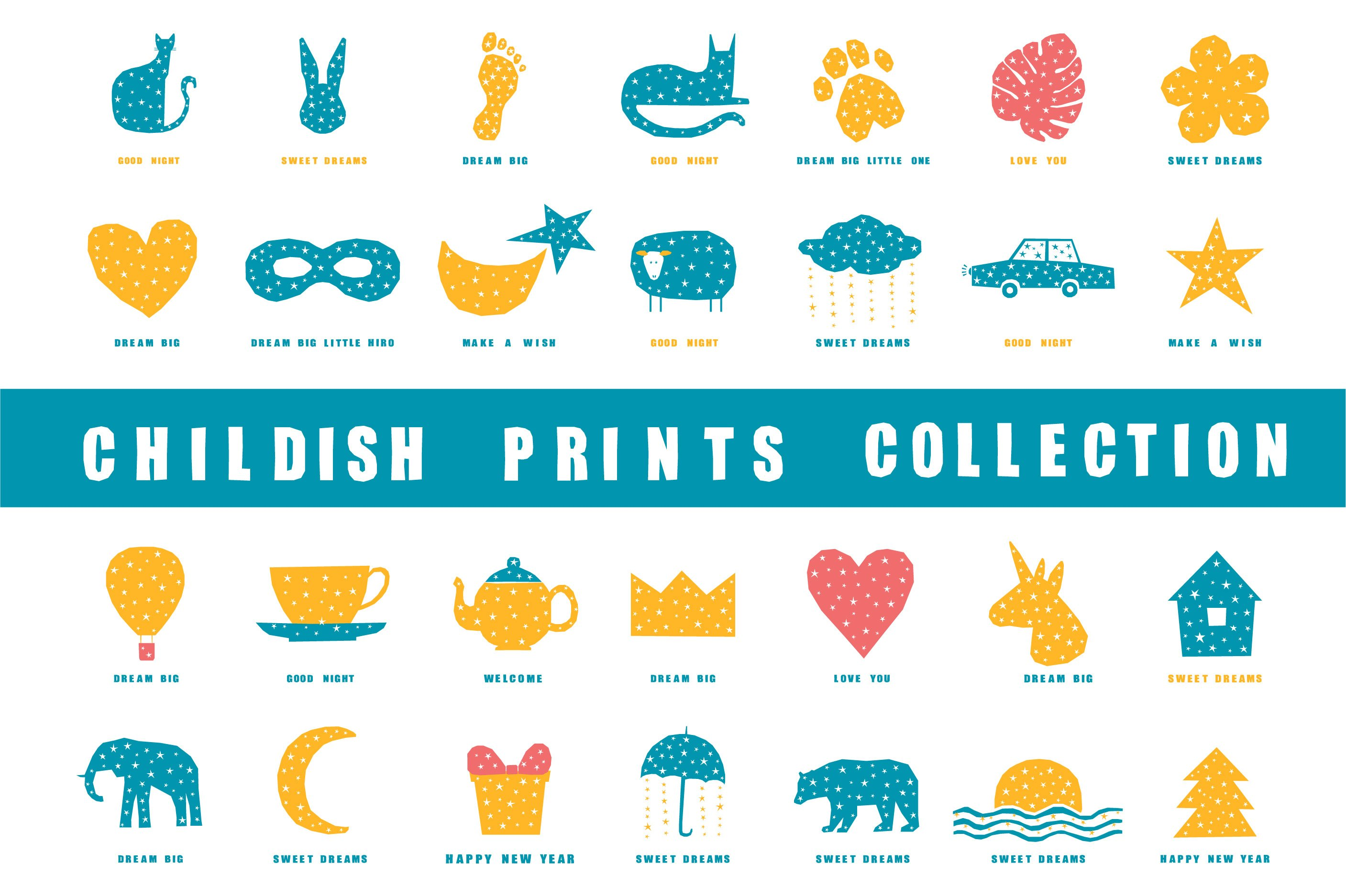 T shirt prints, childish collection. Digital patterns. example image 1