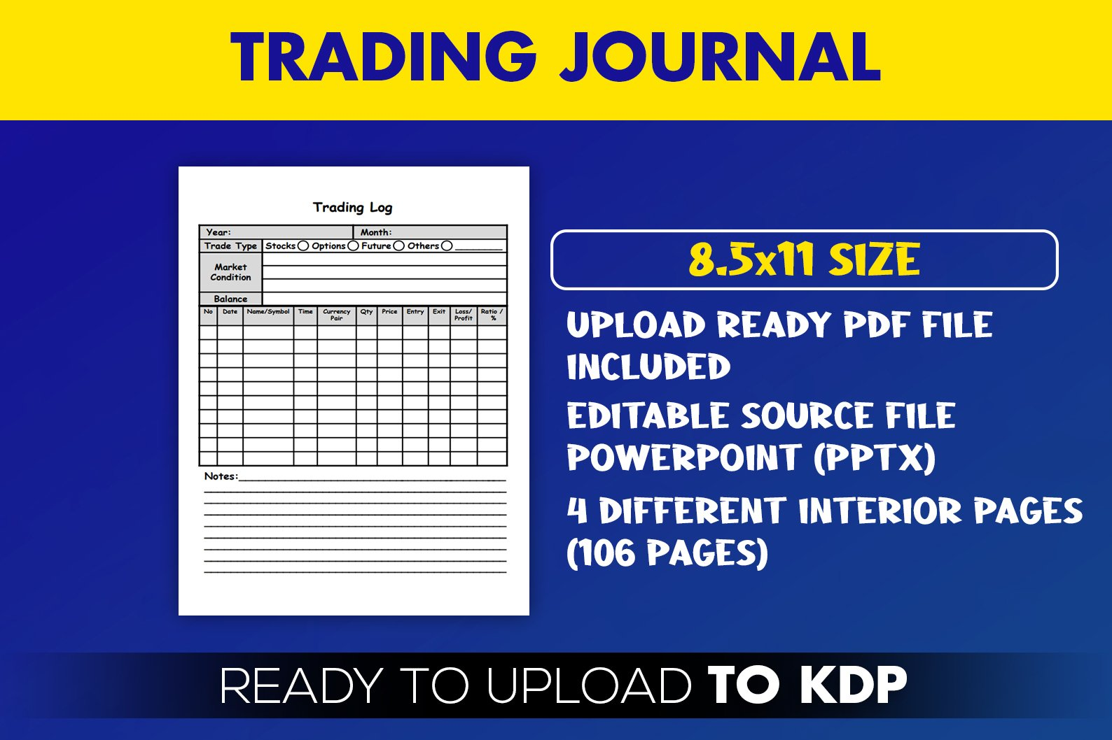 Trading Journal Trade Log Book KDP Interior Ready to Upload example image 2