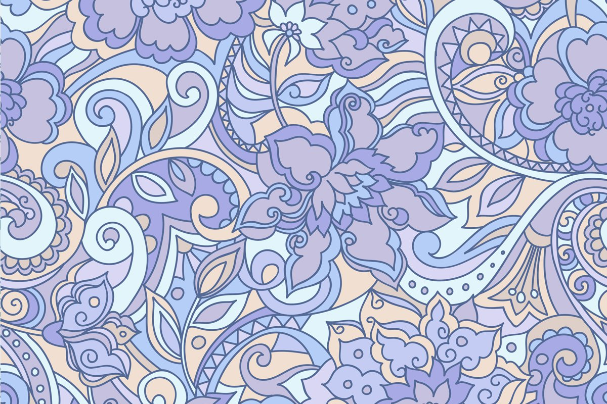 Blue purple vector floral pattern example image 4