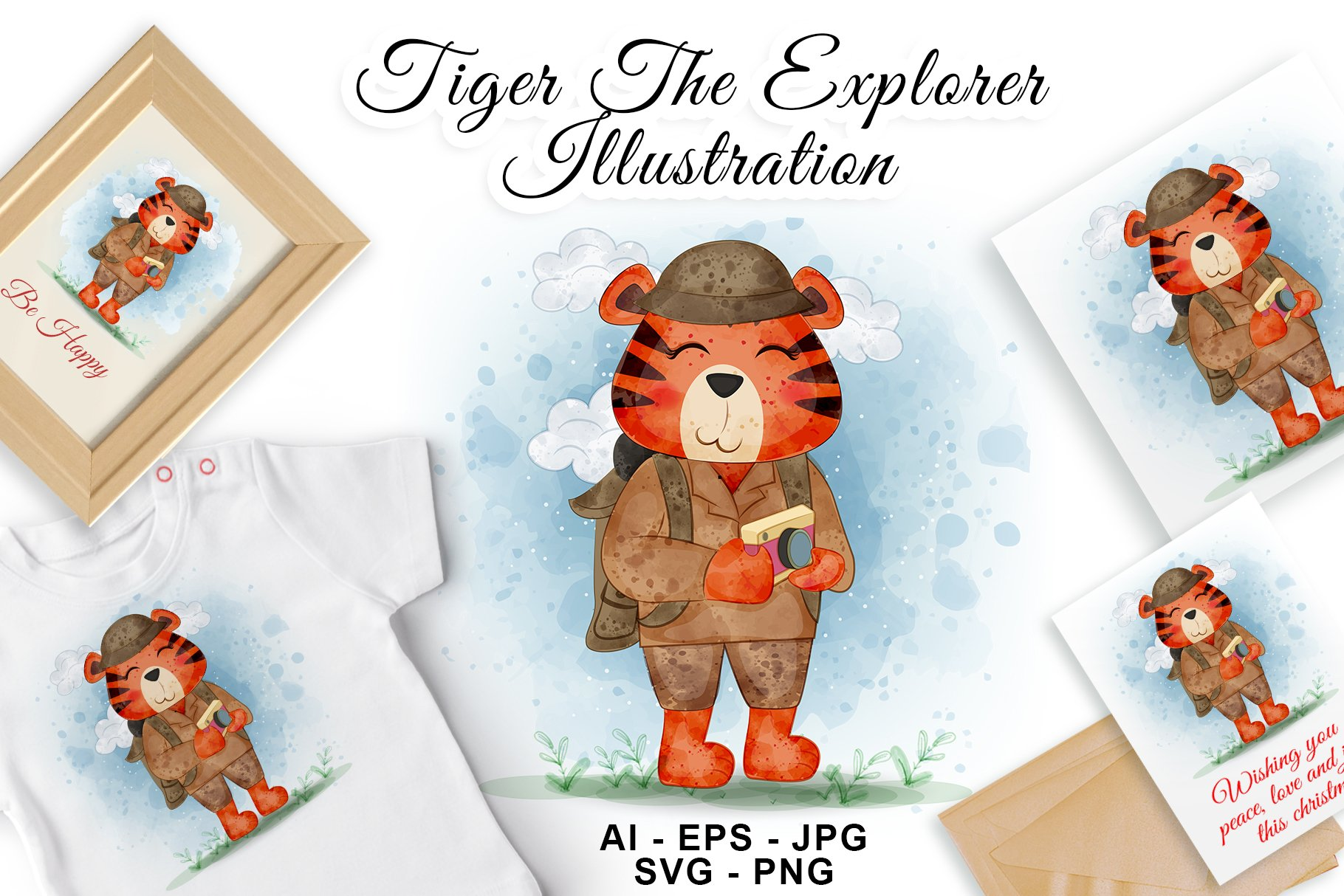 Tiger The Explorer Watercolor Illustration example image 1