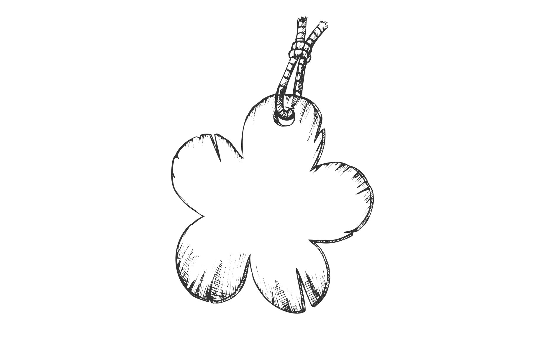 Label In Flower Form Hanging On Rope Ink Vector example image 1
