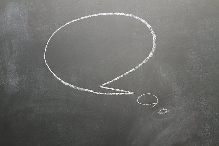 Balckboard with empty thought bub example image 1