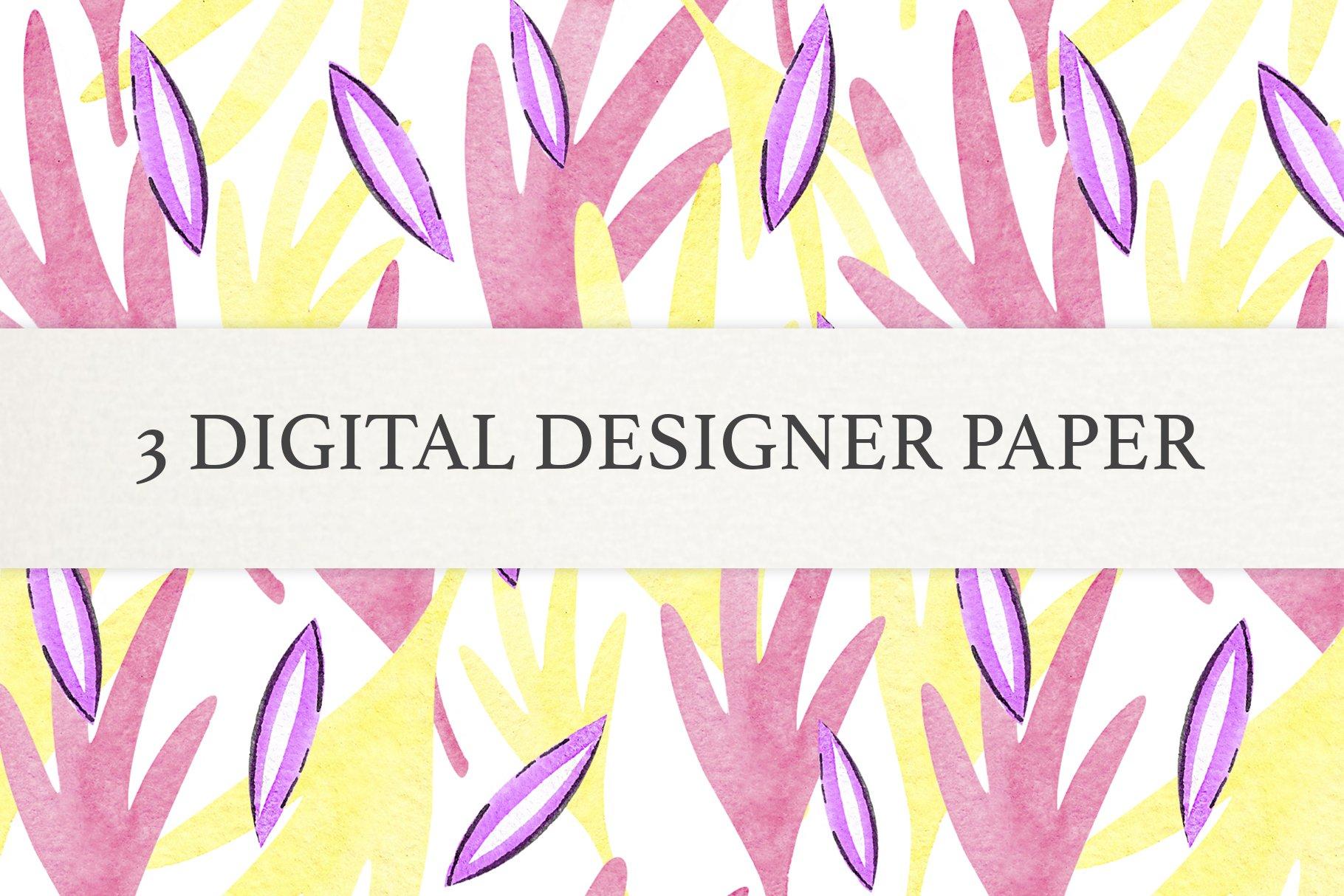 Watercolor Leaf Digital Scrapbook Paper, Seamless Patterns example image 2
