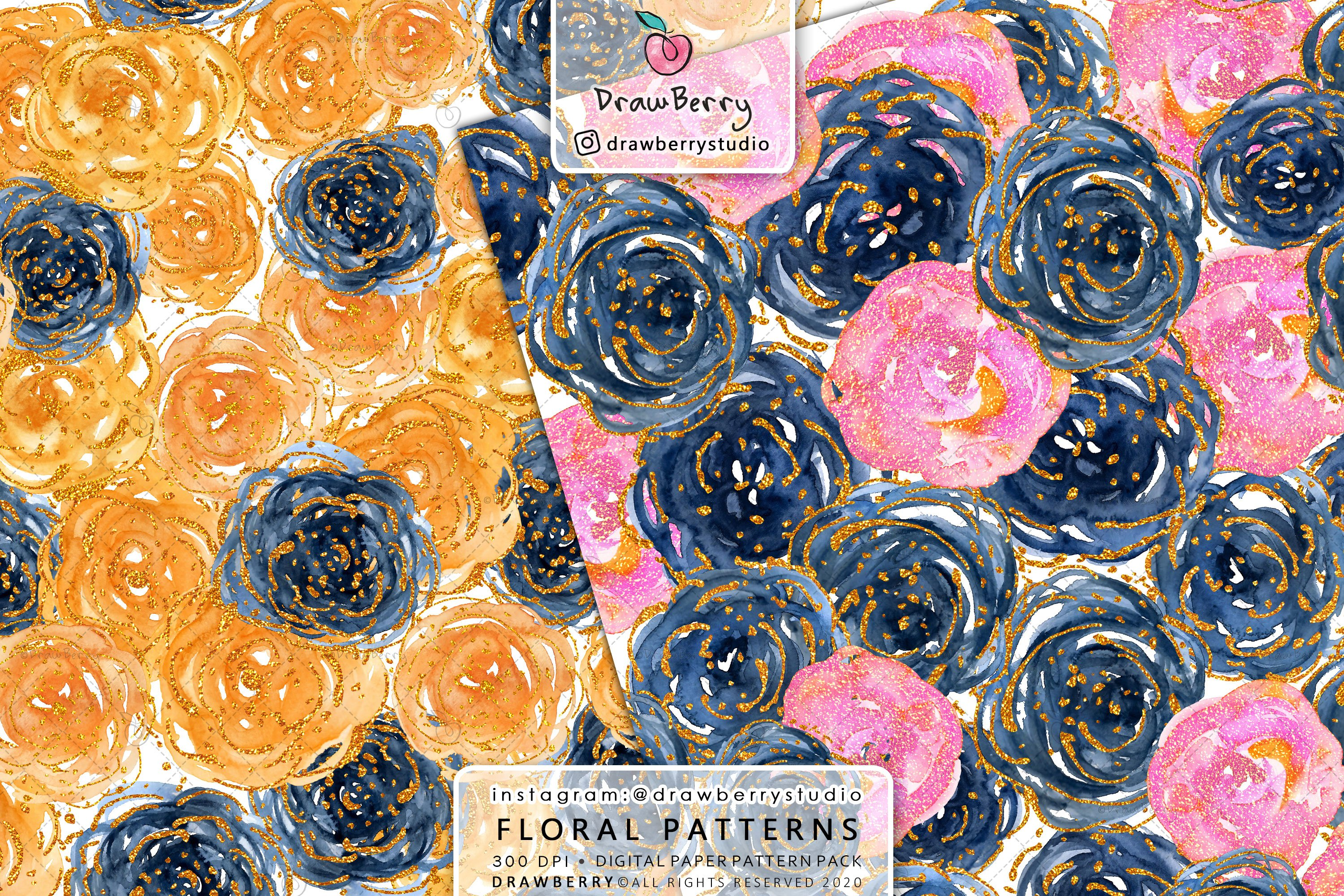 Watercolor Floral Pattern Pack example image 5