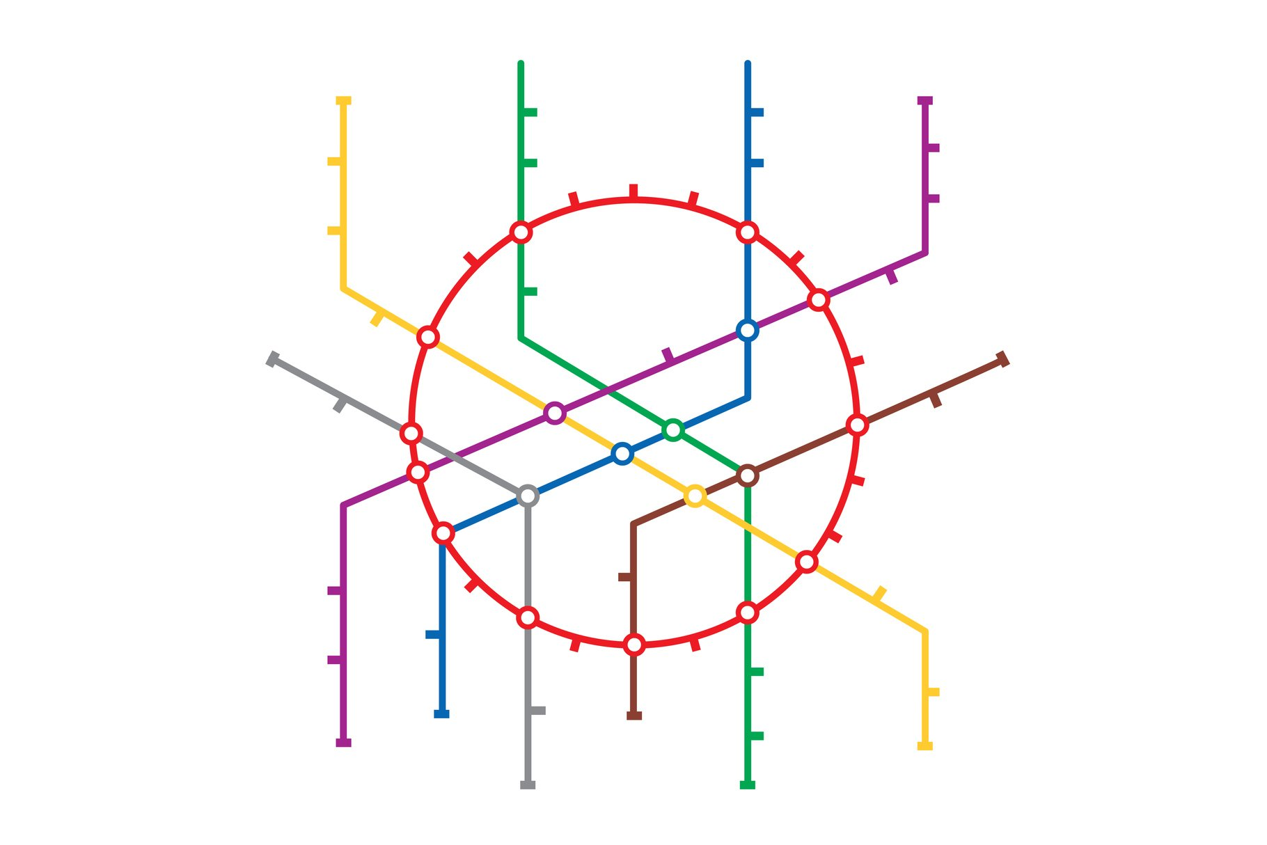Metro Map Vector. Subway Map Design Template. Colorful example image 1