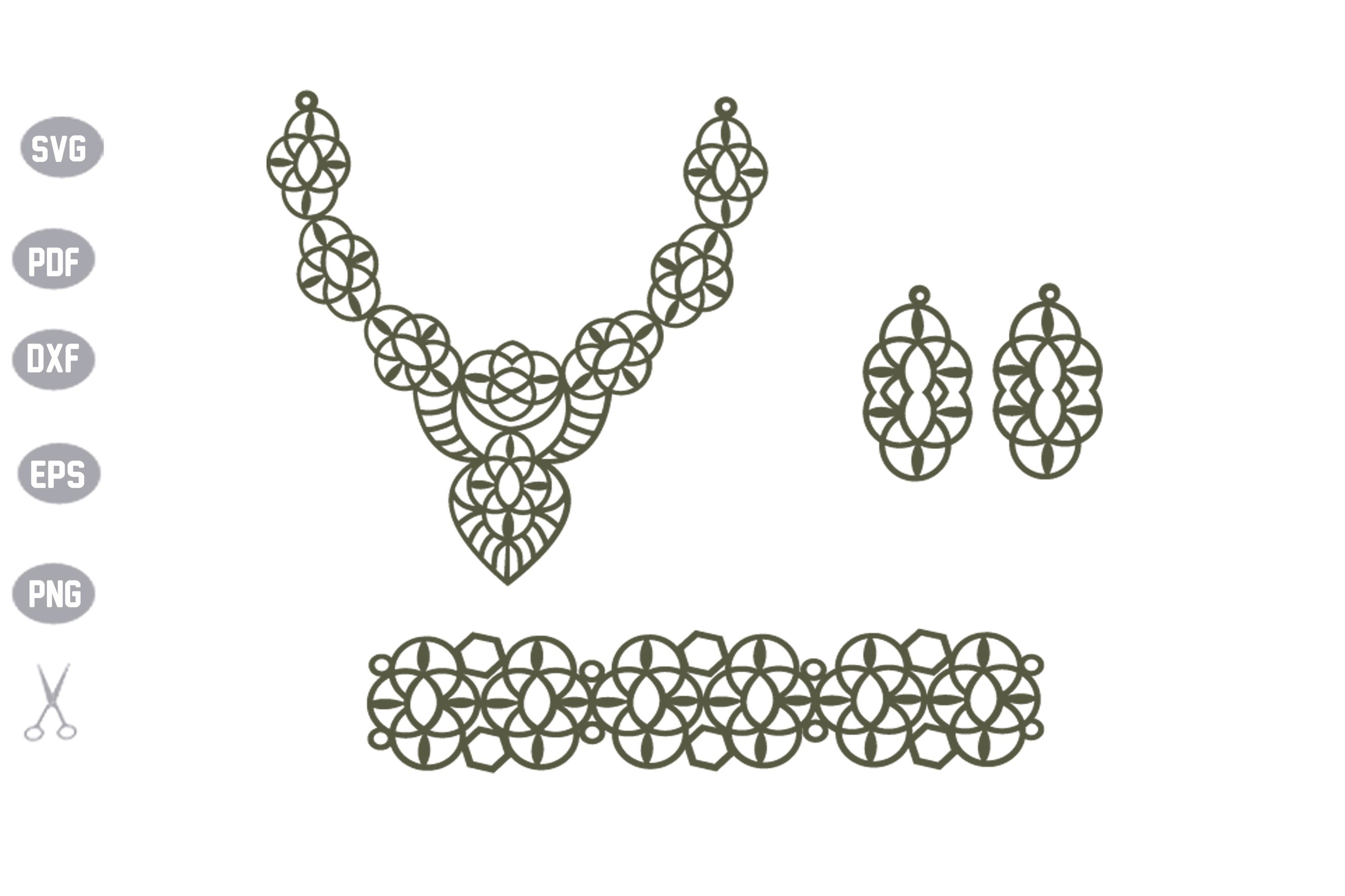 Set Jewelry Earrings SVG Cut File example image 2