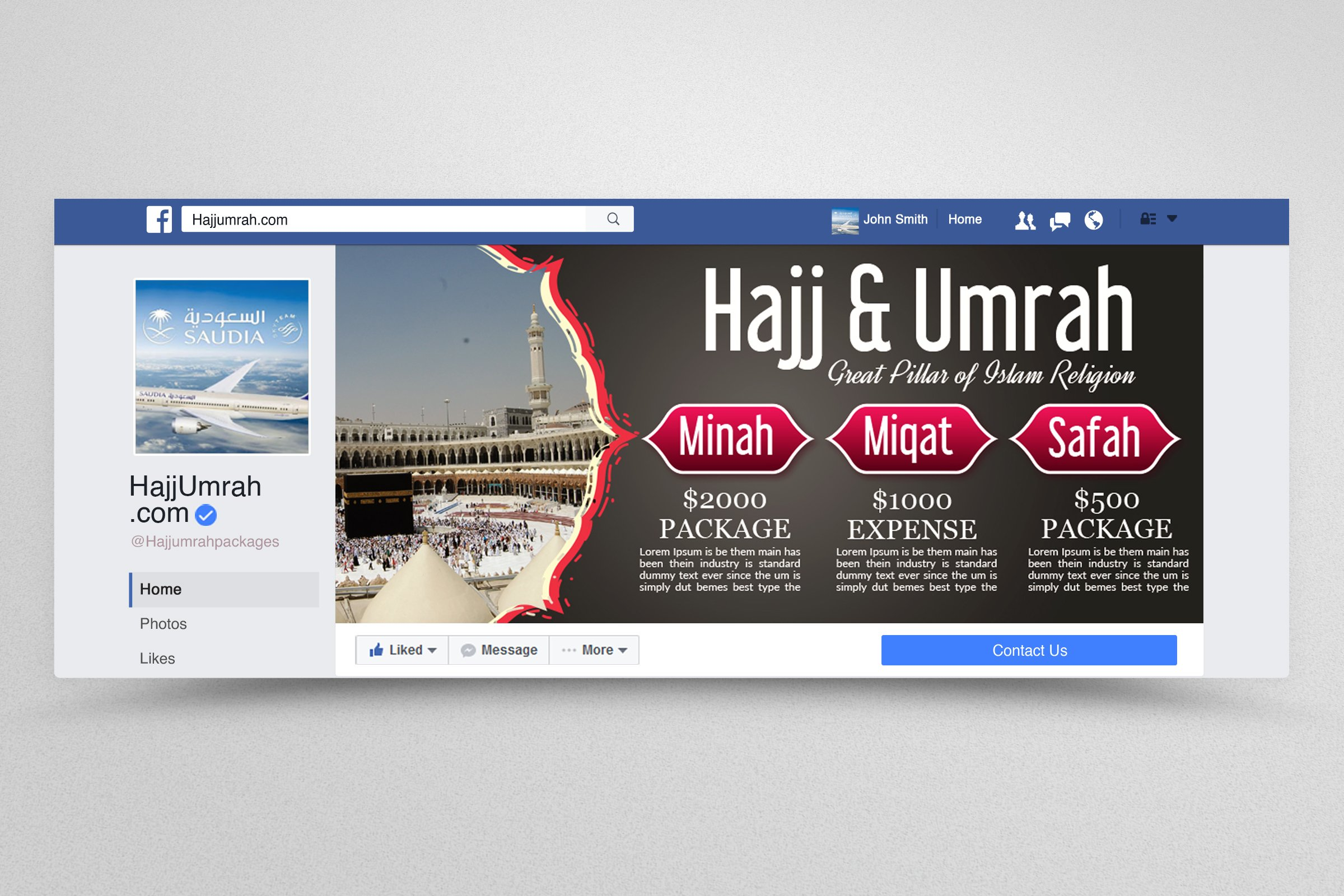 Umrah & hajj Packages Facebook Banner example image 1