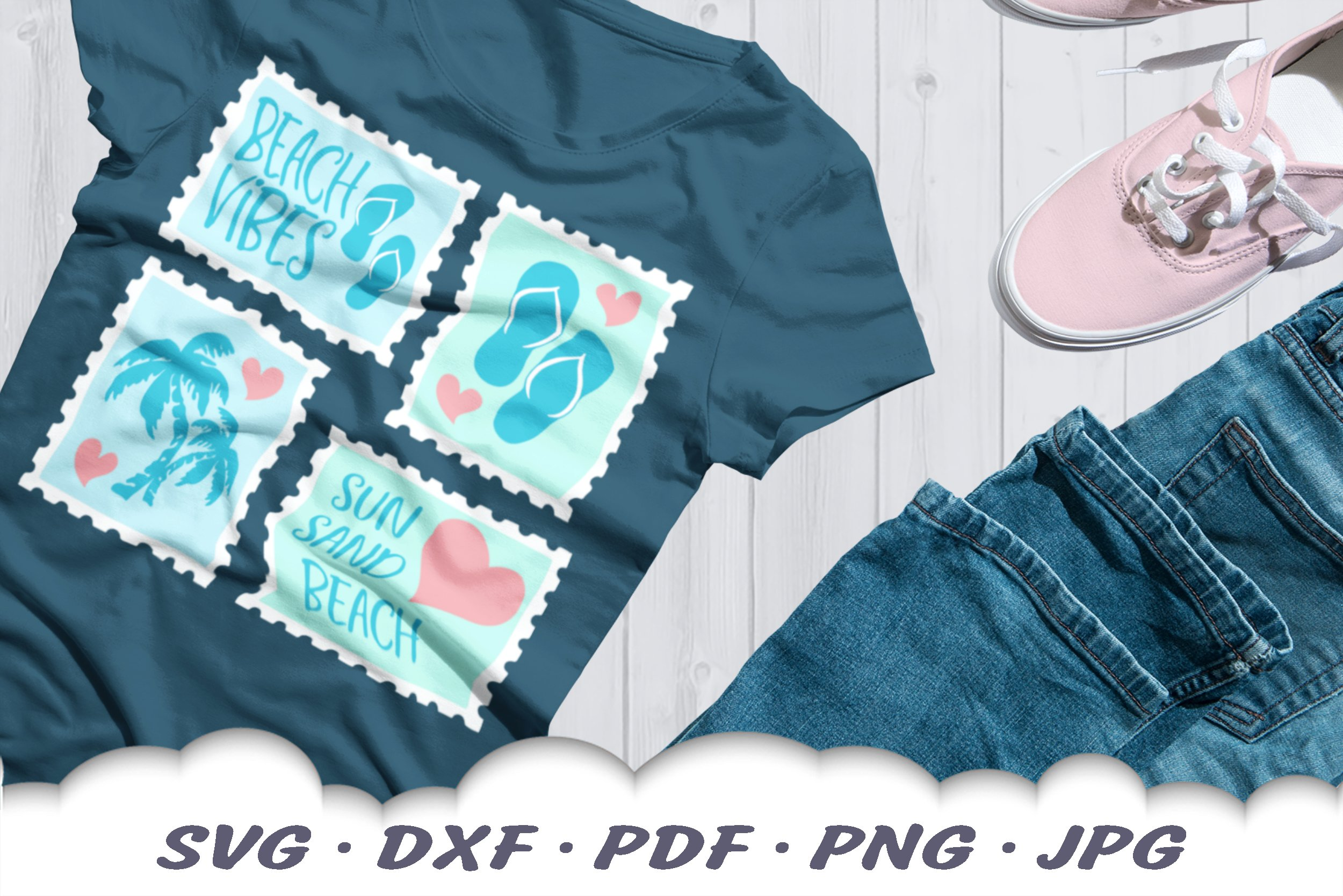 Beach Vibes Stamps SVG Bundle | Beach DXF Cut Files example image 4