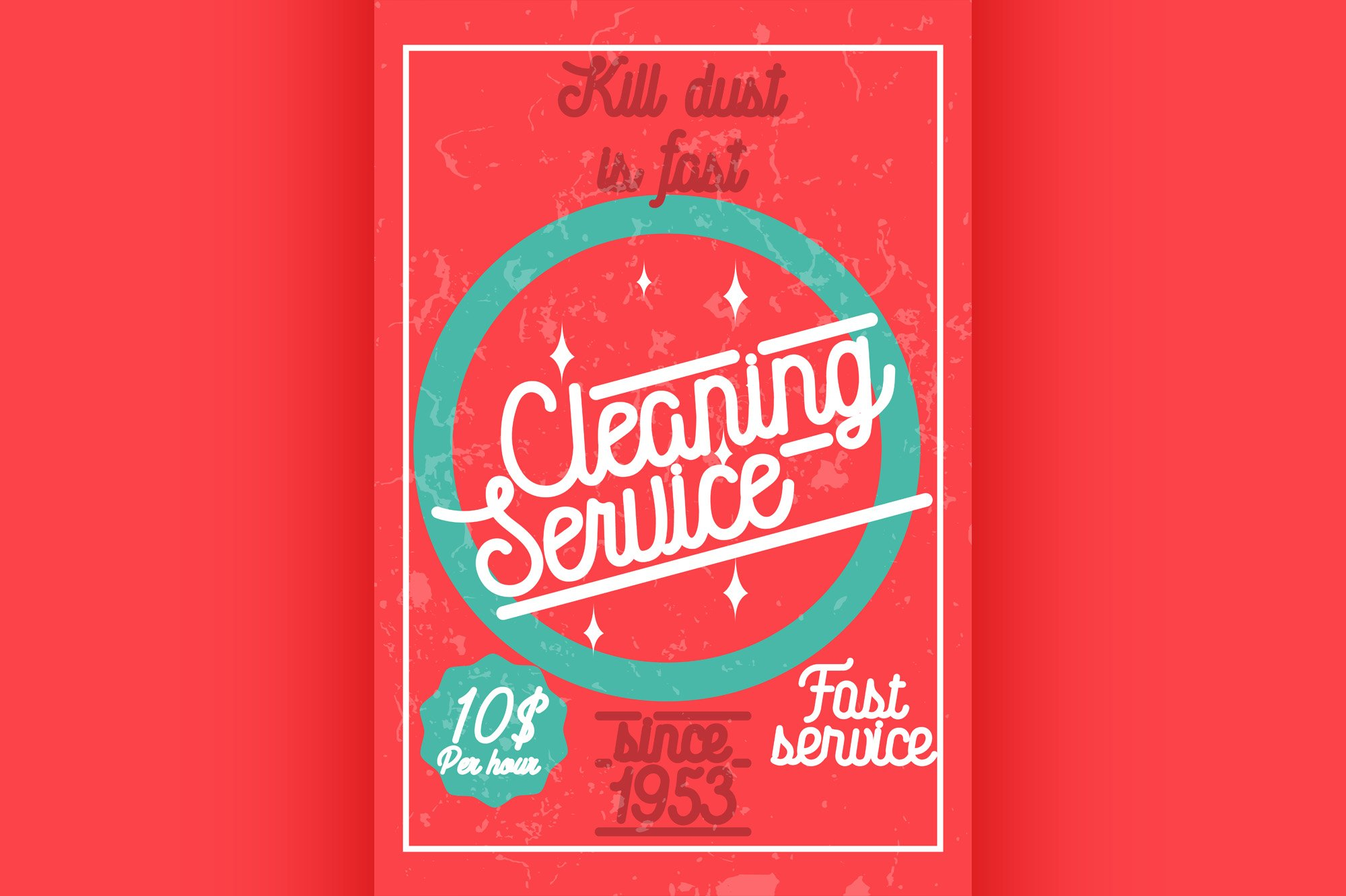Color vintage cleaning service banner. example image 1
