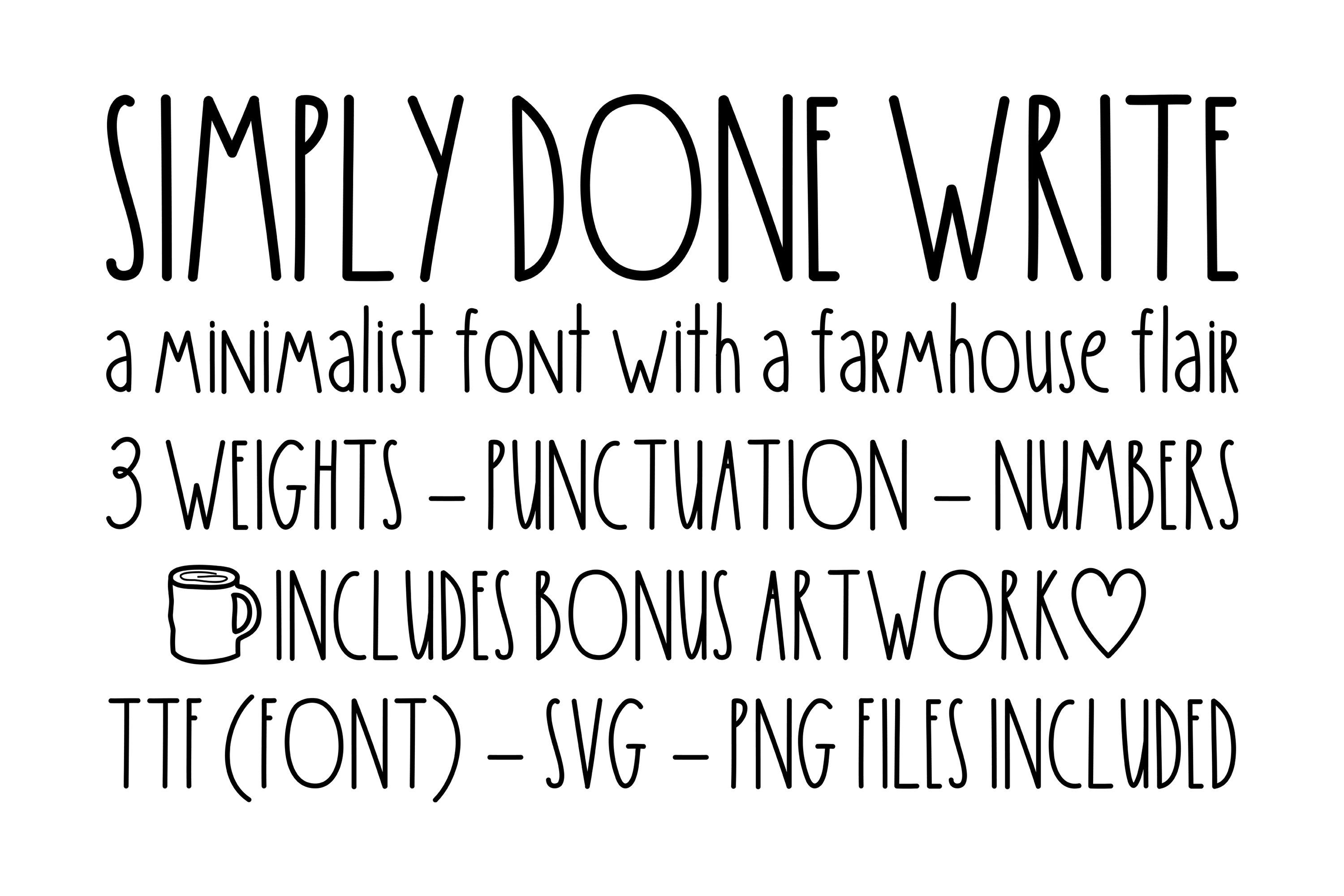 Simply Done Write Farmhouse 3 Weights Font Family & Dingbats example image 1