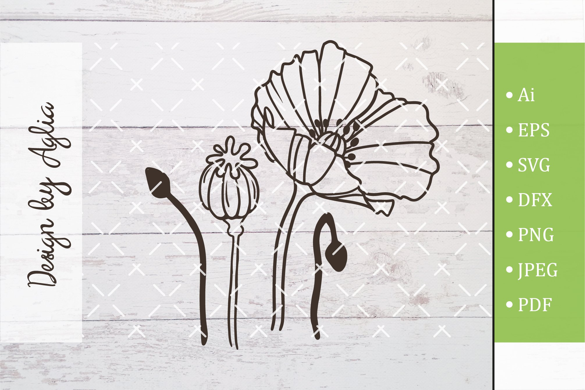 SVG flower poppy, Cut file, Line art illustration example image 1