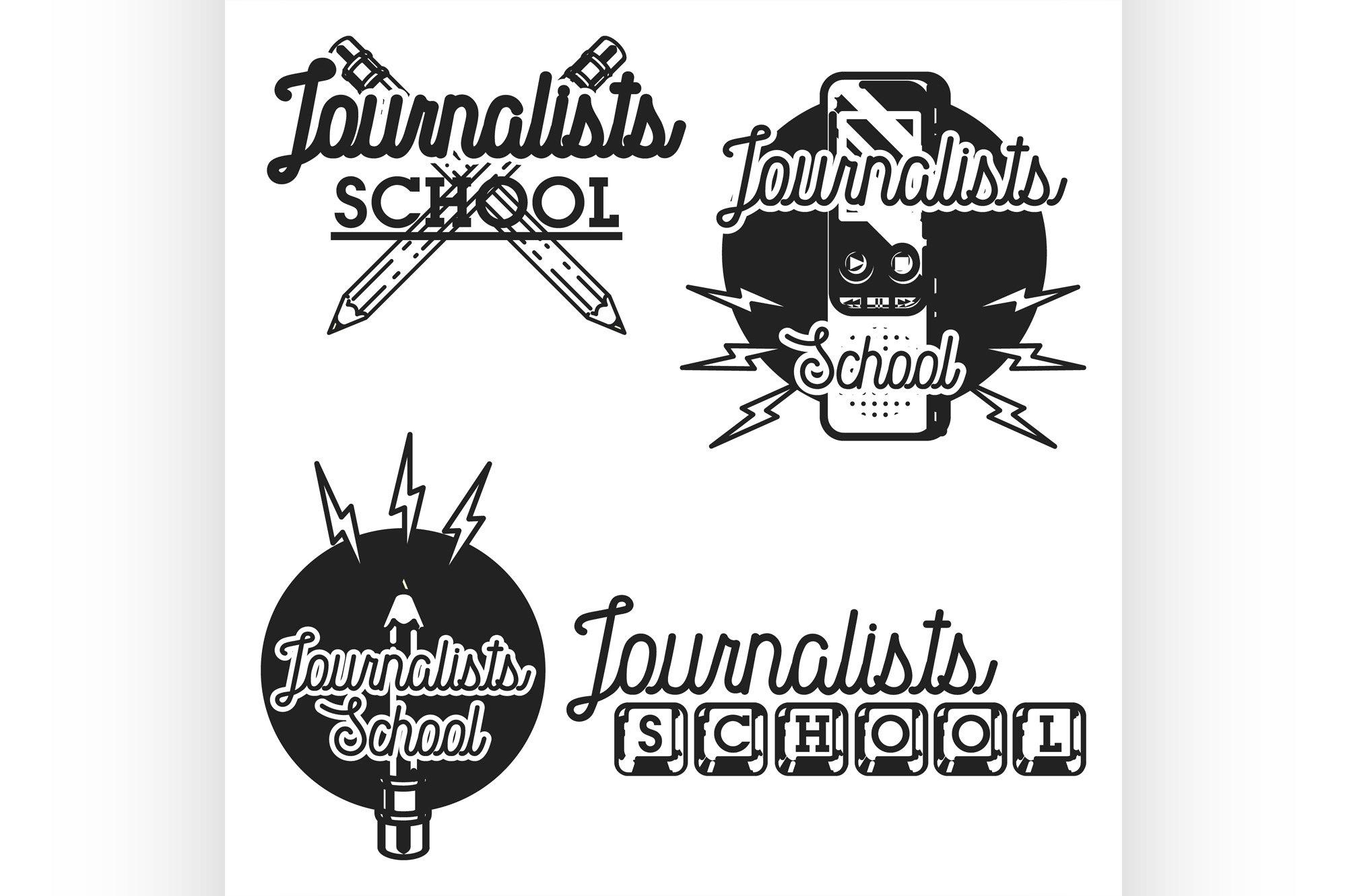 Color vintage journalists school emblems example image 1