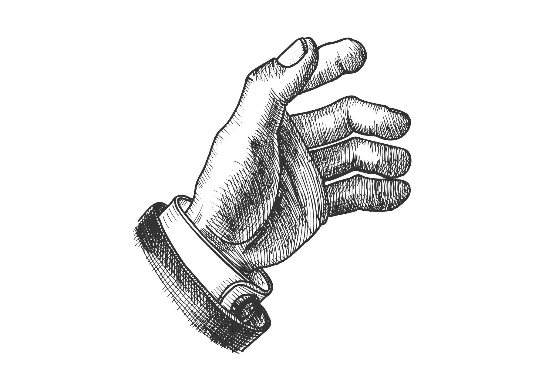 Businessman Hand Make Gesture Monochrome Vector example image 1