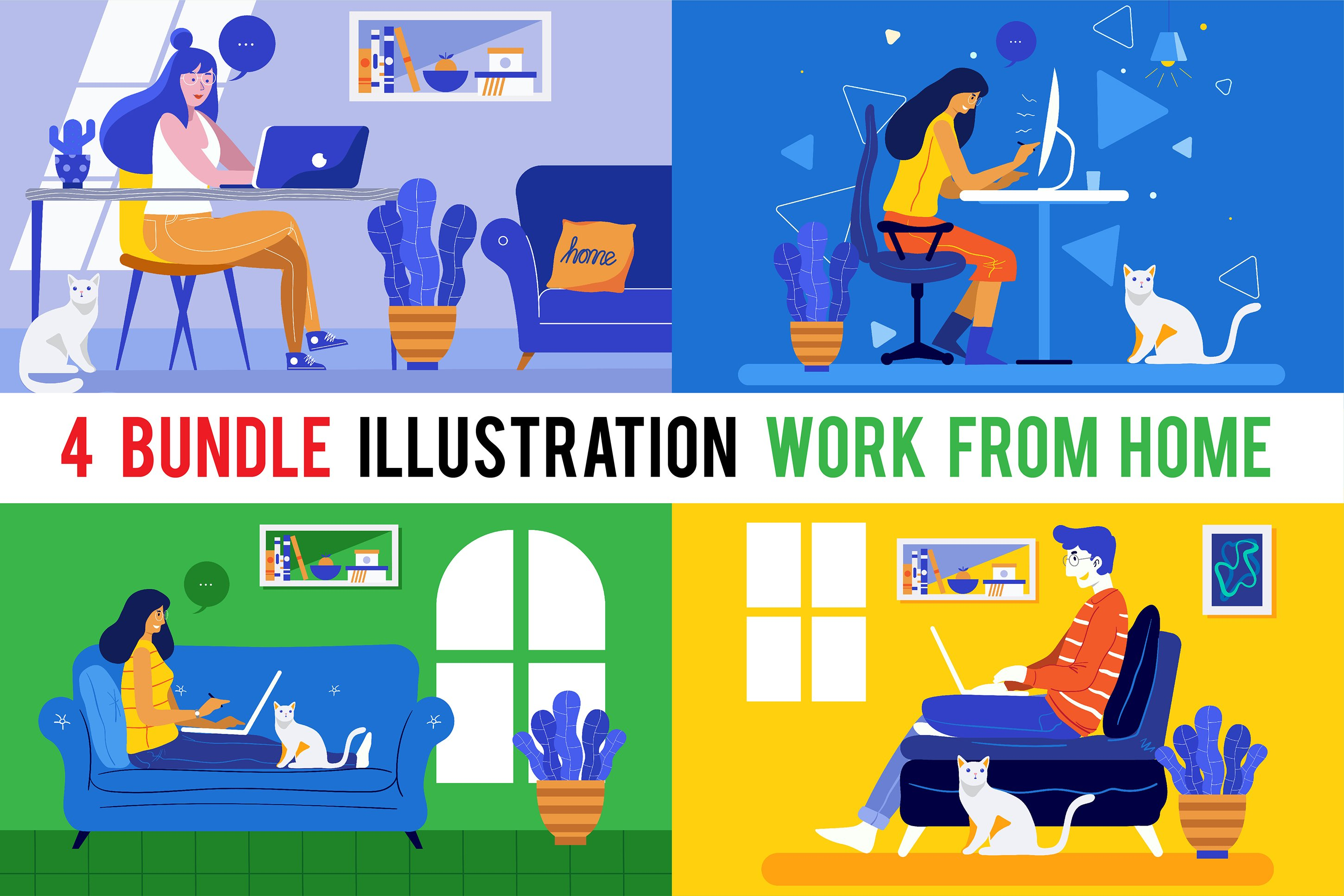 4 Bundle Illustration Style Work From Home example image 1