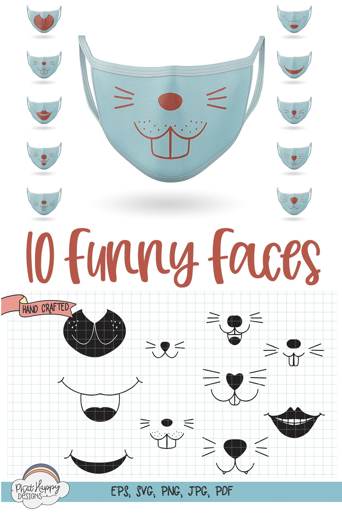10 Funny Faces for Masks - SVG Cut Files example image 13