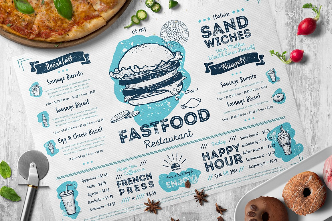 Restaurant menu creator with food illustration pack example image 4