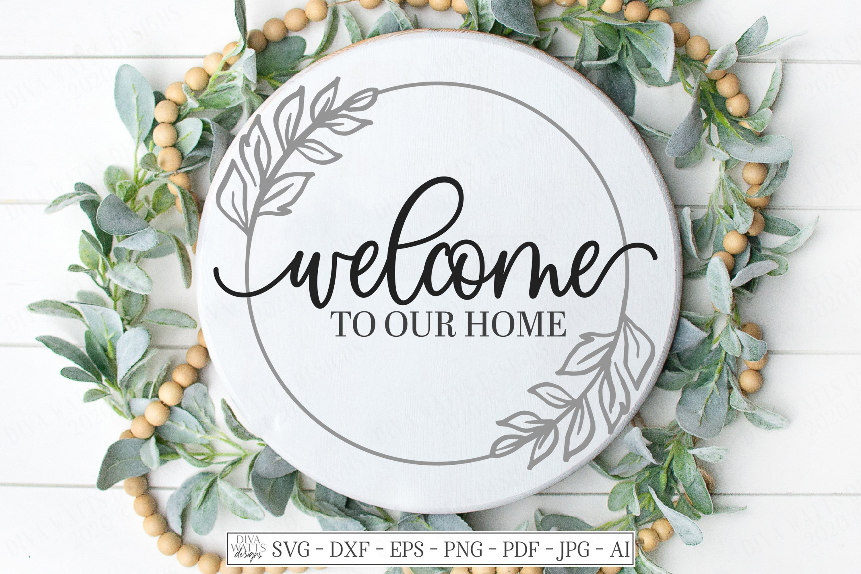 Welcome To Our Home Farmhouse Wreath Svg Dxf Eps Sign 557360 Cut Files Design Bundles