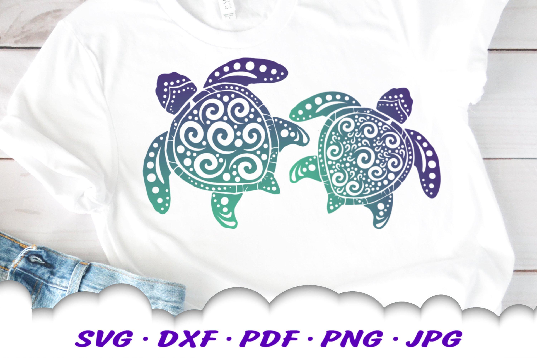 Spiral Sea Turtle SVG DXF Cut Files Bundle example image 4