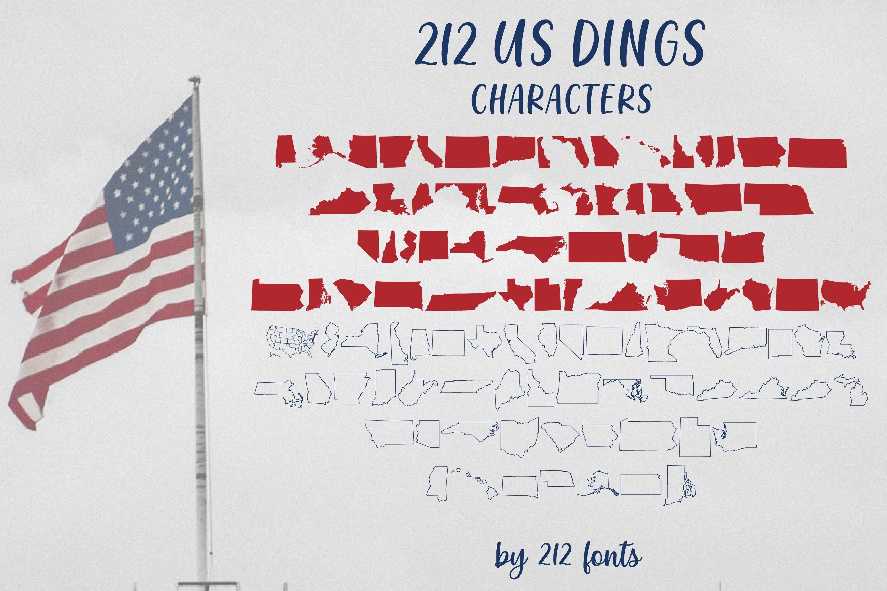 212 US Dings United States Dingbat Solid and Outline Font example image 6