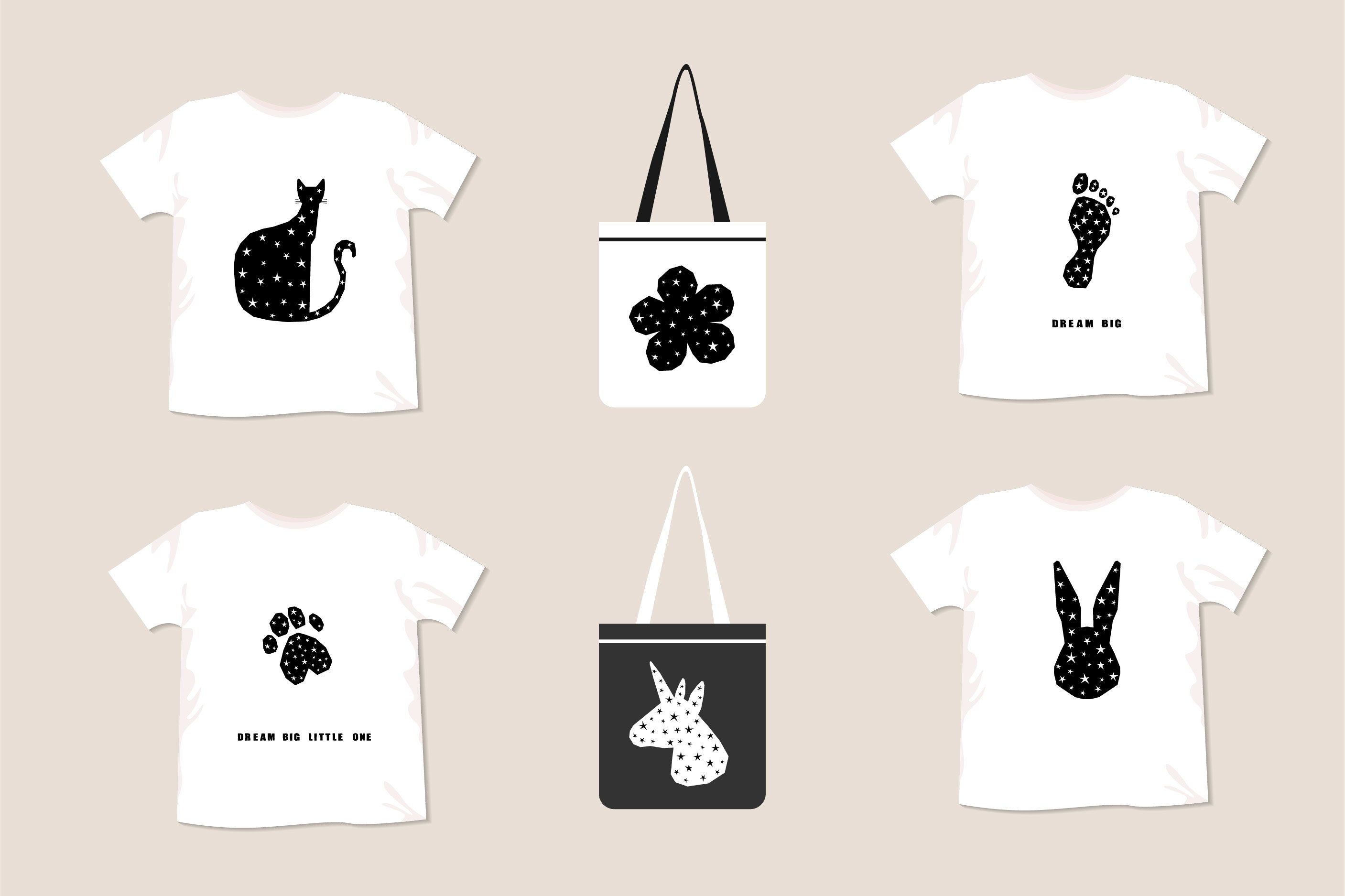 T shirt prints, childish collection. Digital patterns. example image 3