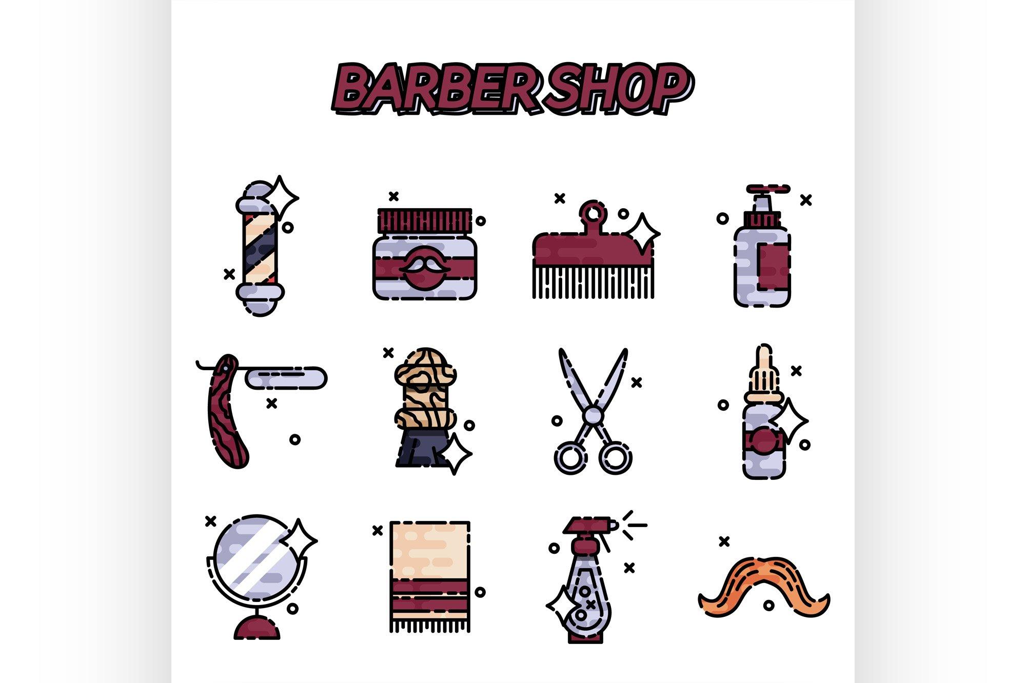 Barber shop flat icons set example image 1