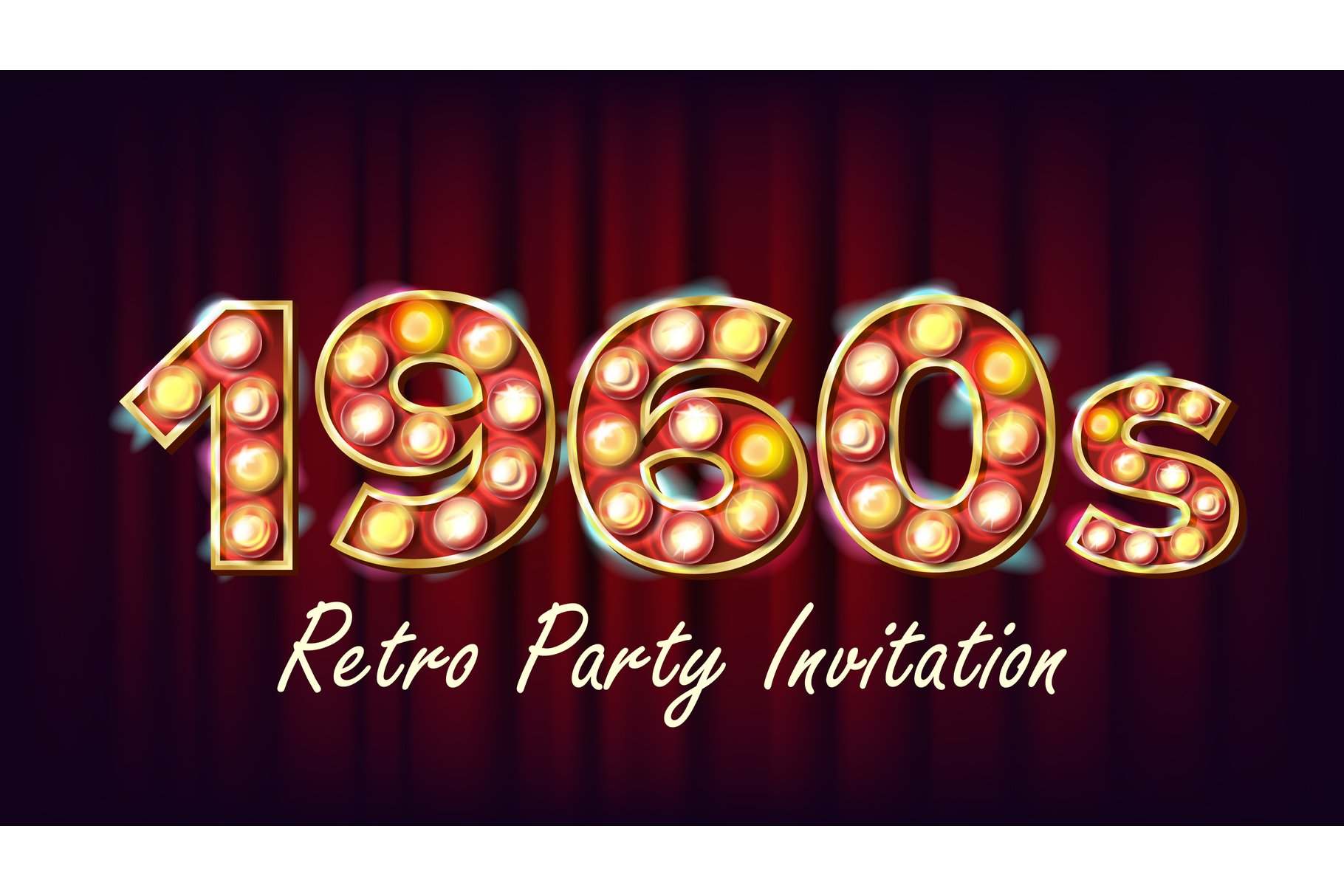 1960s Retro Party Invitation Vector. 1960 Style. Lamp Bulb. example image 1