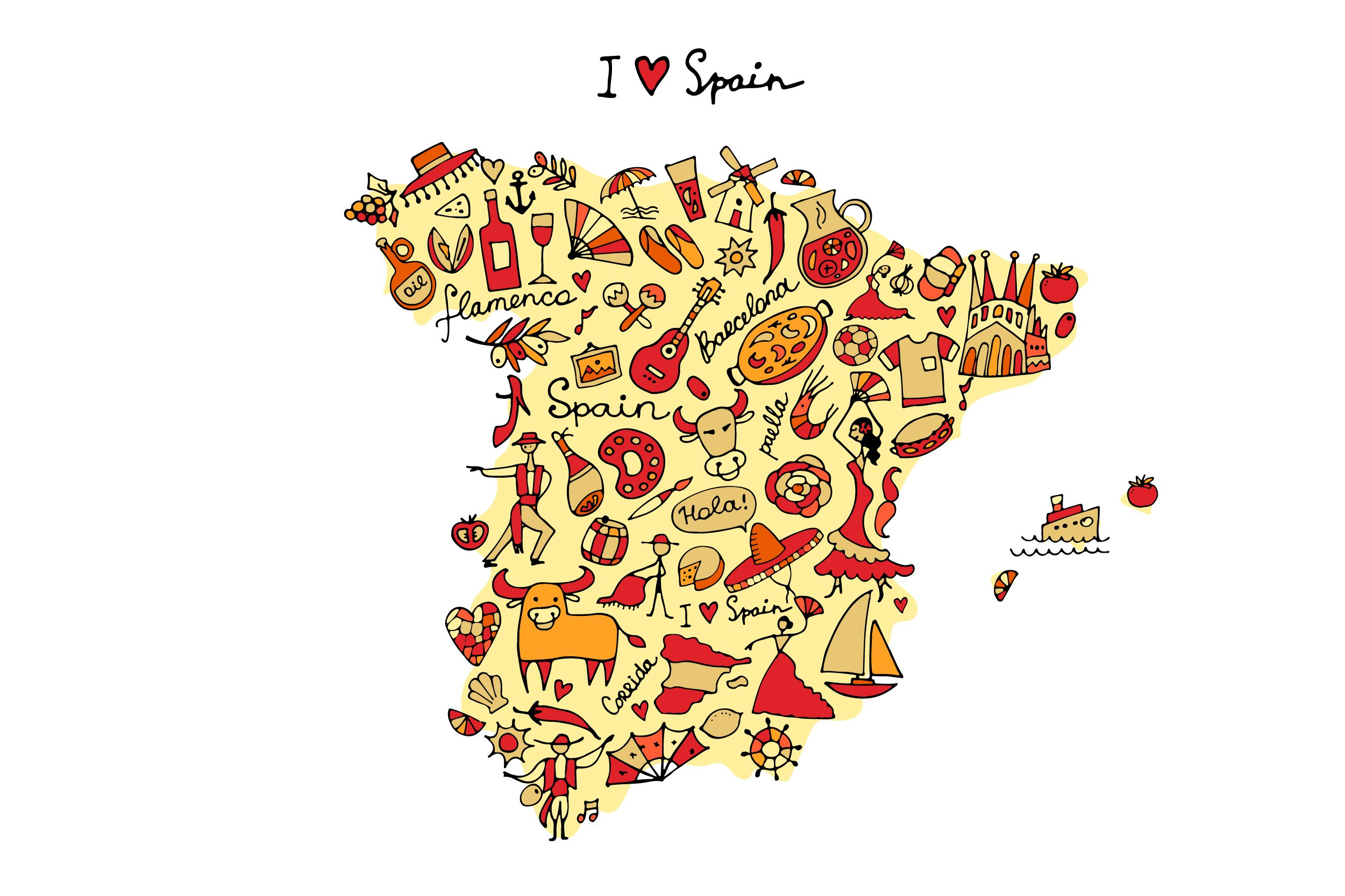 Spain set in one style - tree, pattern, heart, frame example image 4