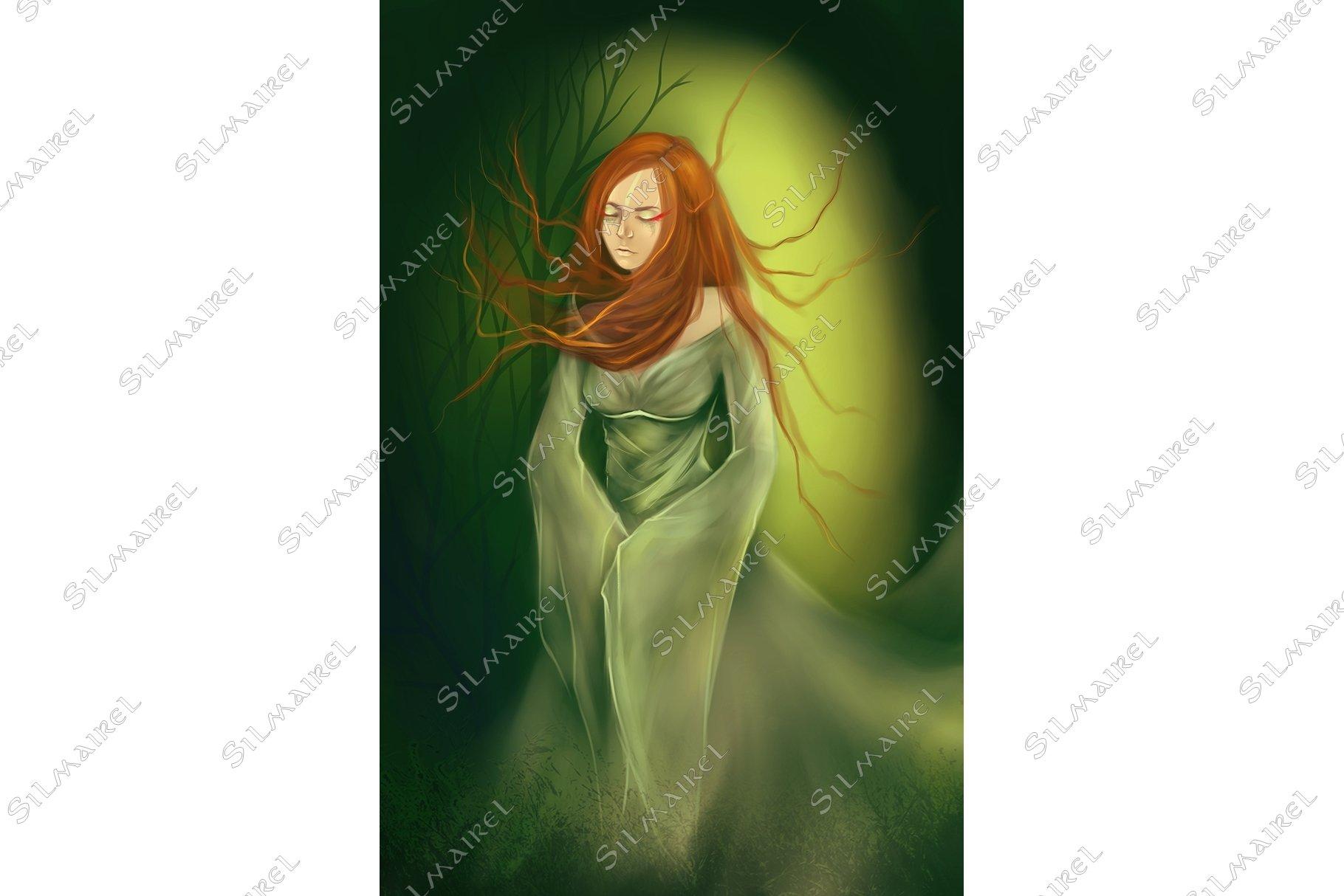 Ginger girl green dress wood forest digital art example image 1