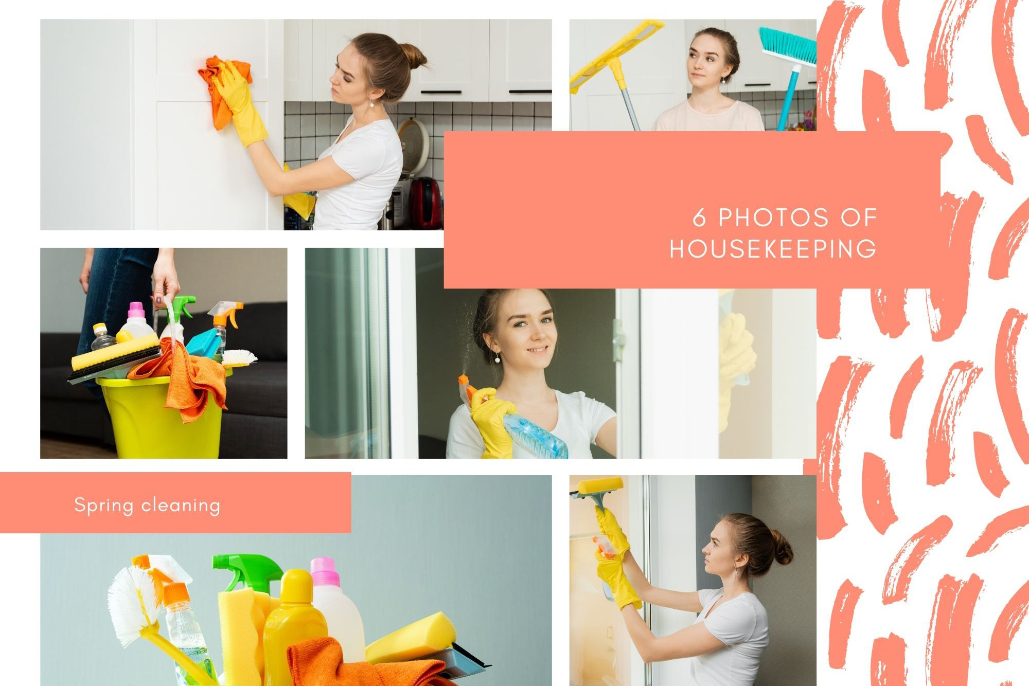Spring cleaning. A young girl is cleaning her house. example image 1