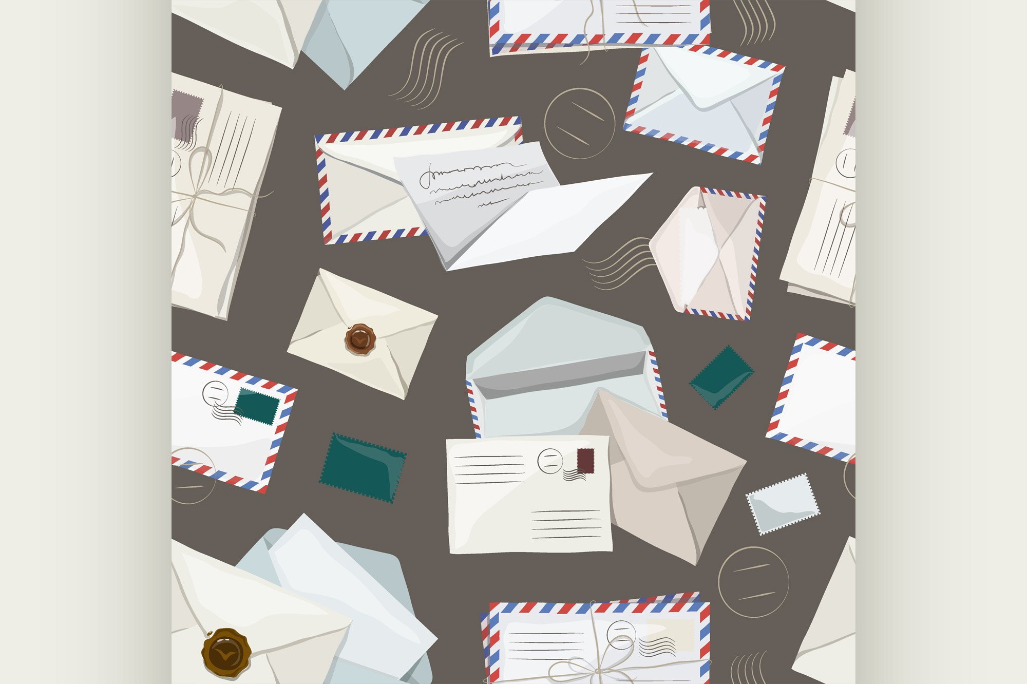 Letters and envelopes pattern example image 1