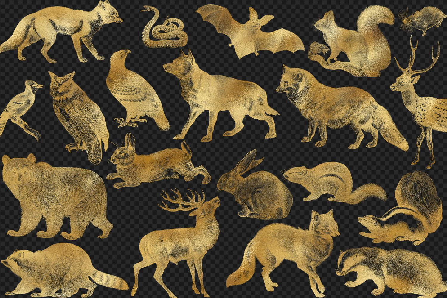 Gold Forest Animals Clip Art example image 2
