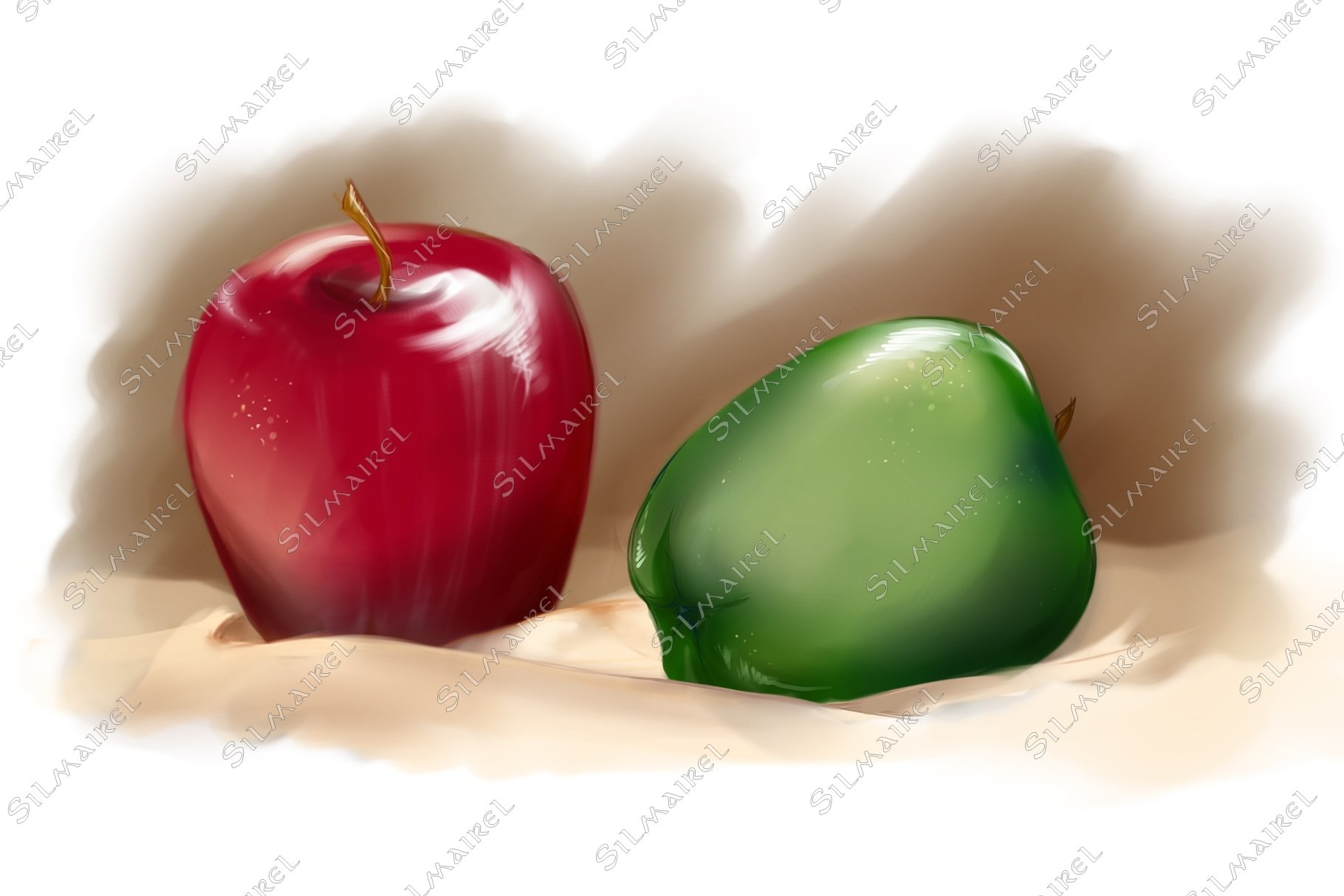Red and green apples on cream tablecloth example image 1