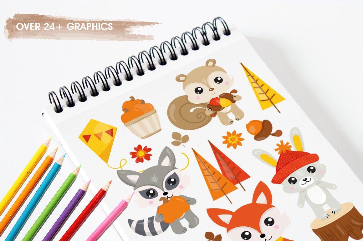 Fall Animals Graphics and illustrations, vecto example image 5