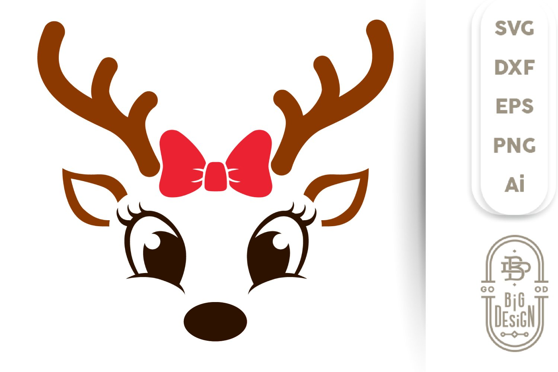 Christmas Svg Cute Reindeer Svg Girl Reindeer Face Svg 447117 Cut Files Design Bundles