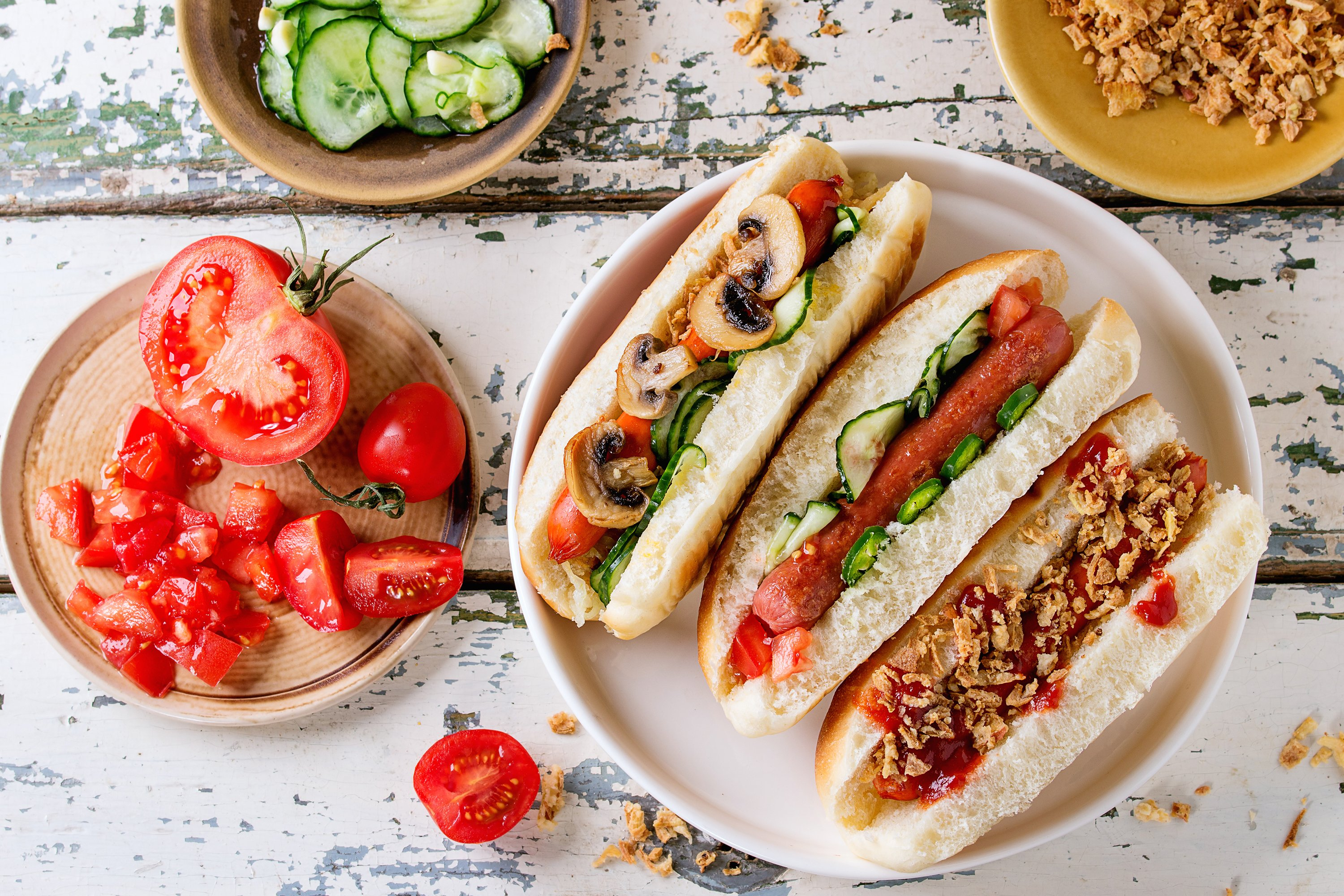 Assortment of homemade hot dogs example image 1