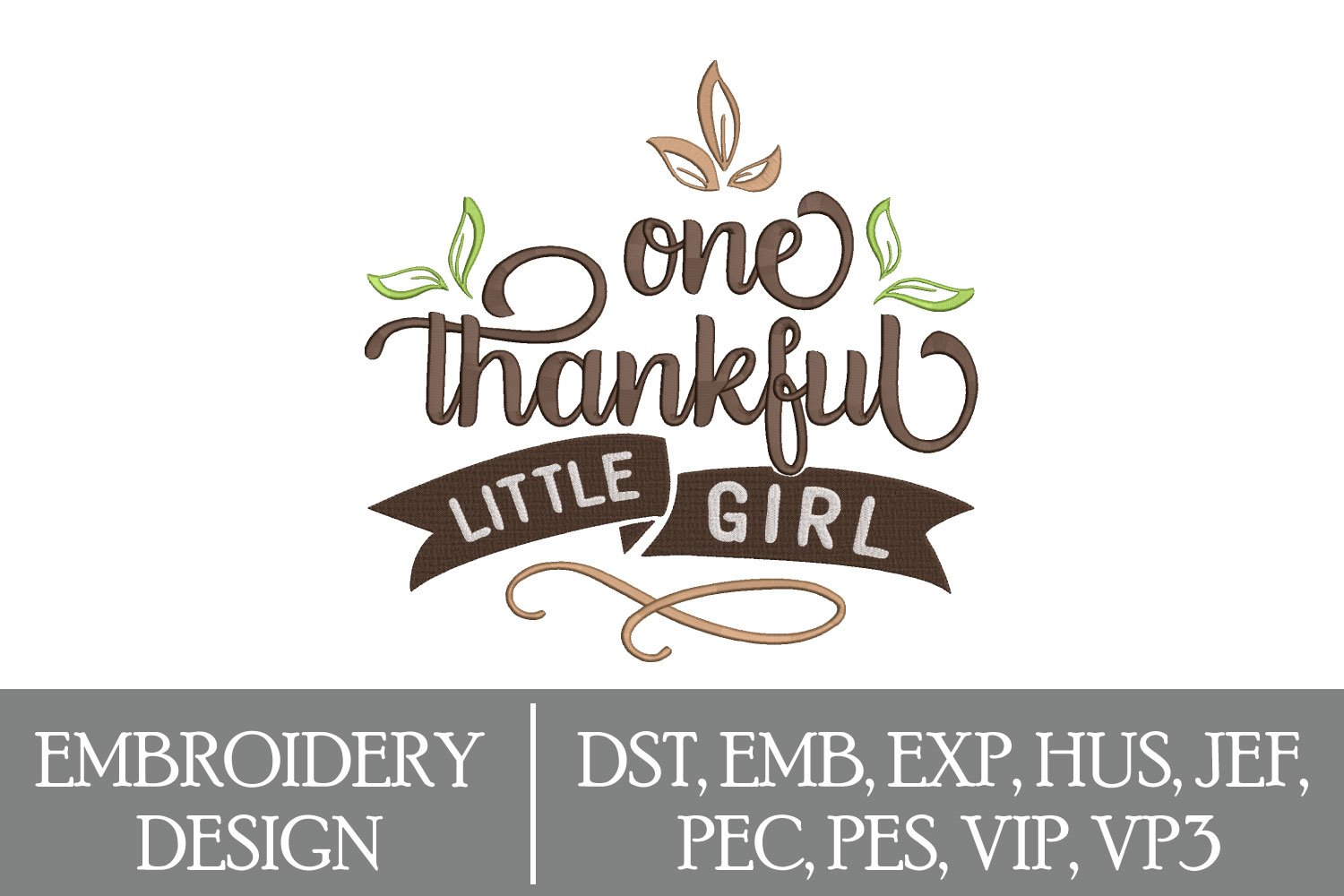 One Thankful Little Girl Machine Embroidery Design example image 1