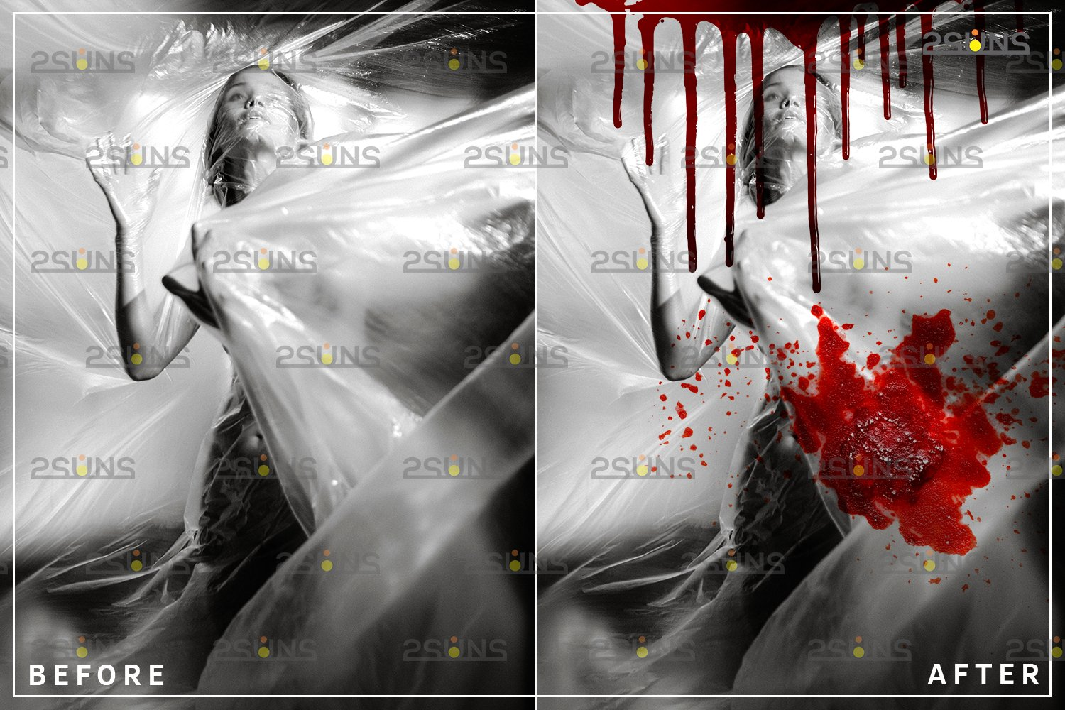 Blood Photo Overlay, Halloween overlay, blood splatter example image 3