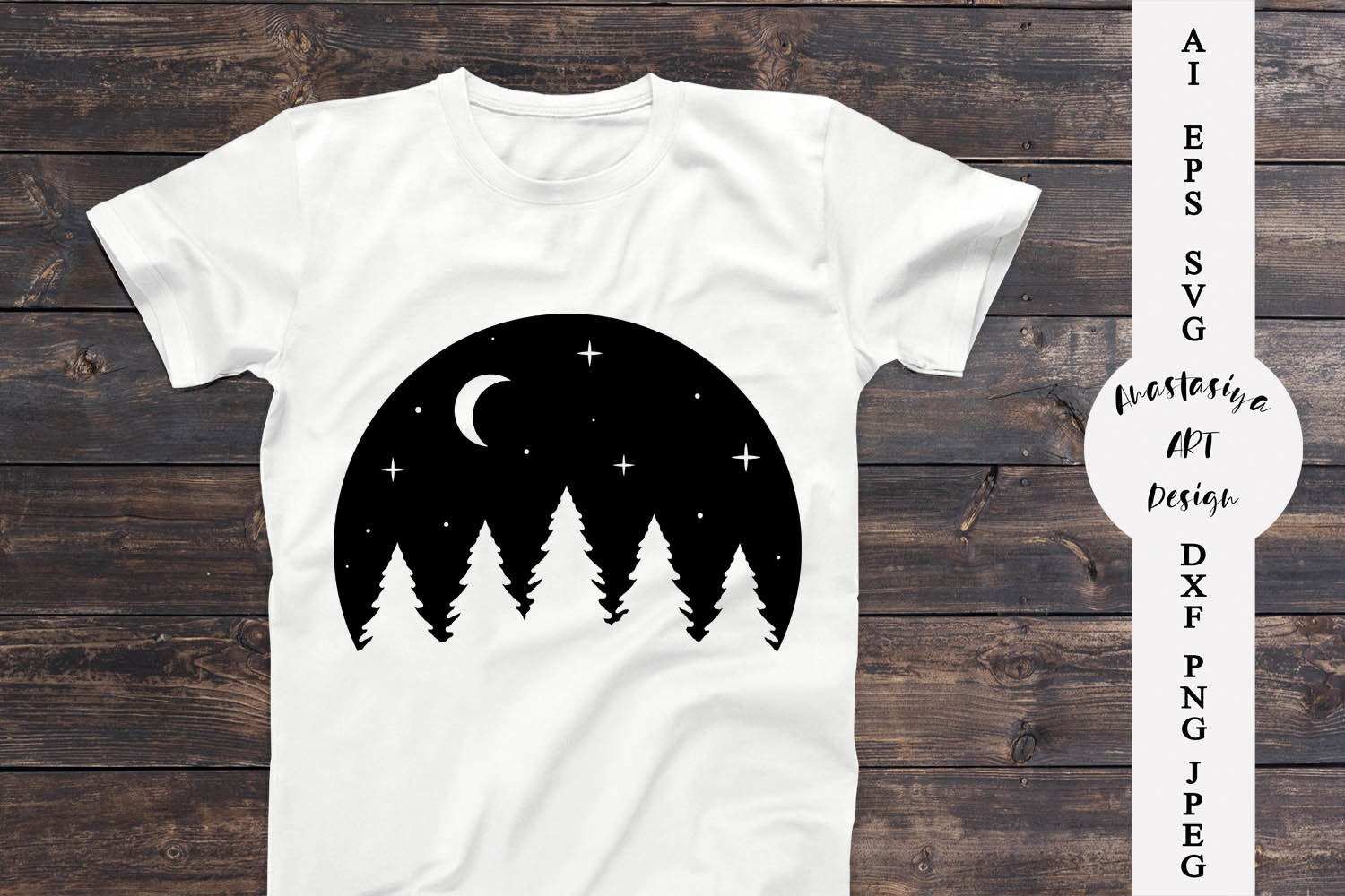 Moon and forest svg, Adventure shirt svg, Travel dxf example image 1