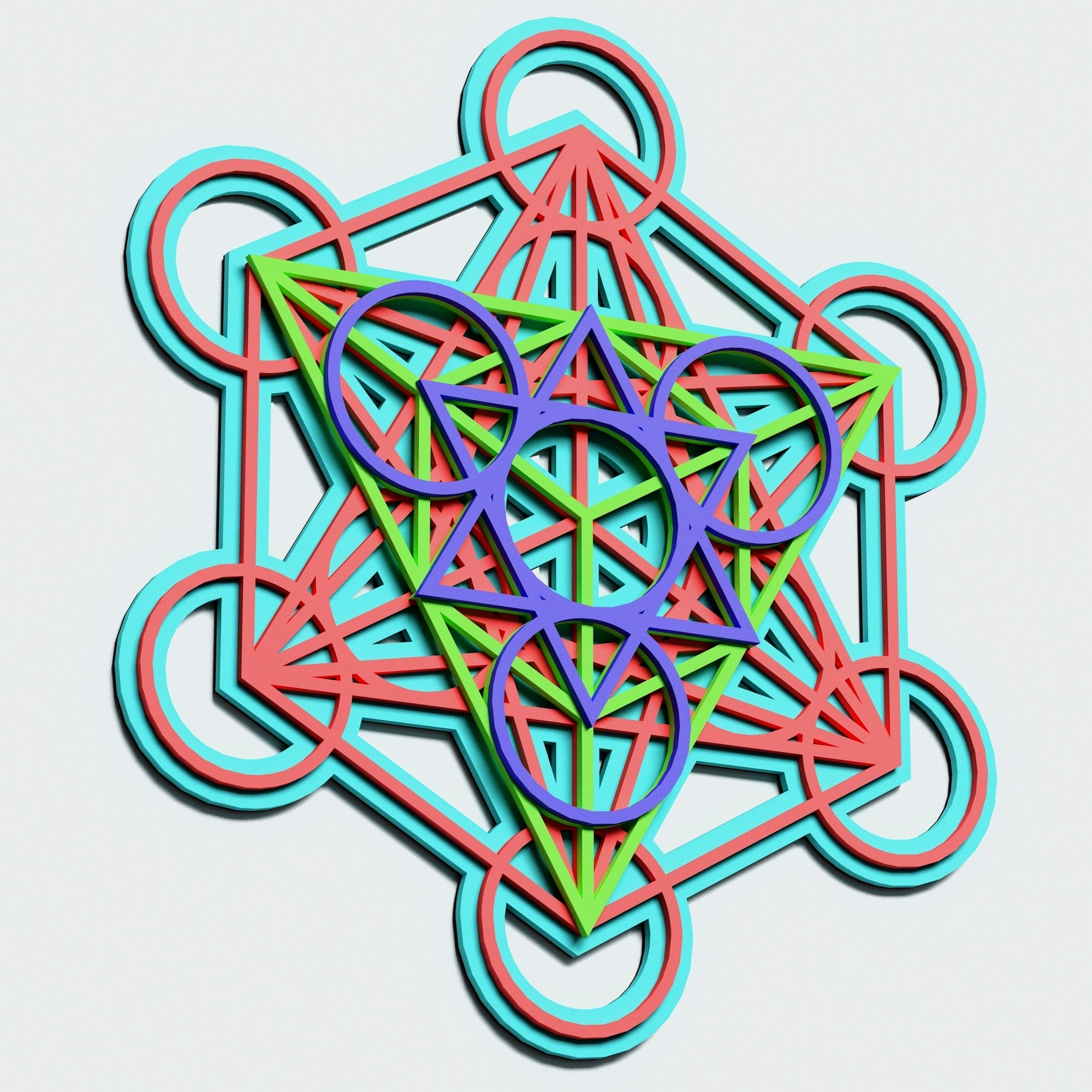 Metatron's Cube Multilayer Mandala, Vector file for cutting example image 4