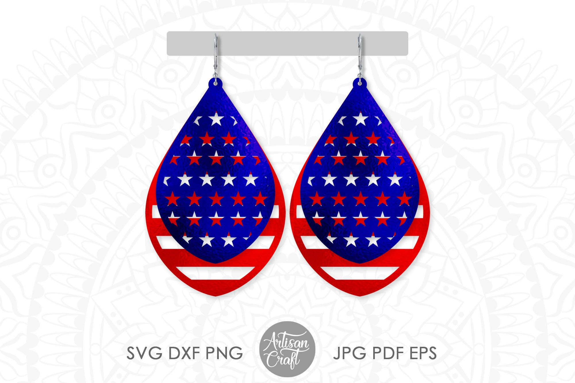 American flag earrings, Fourth of July earrings, svg example image 1