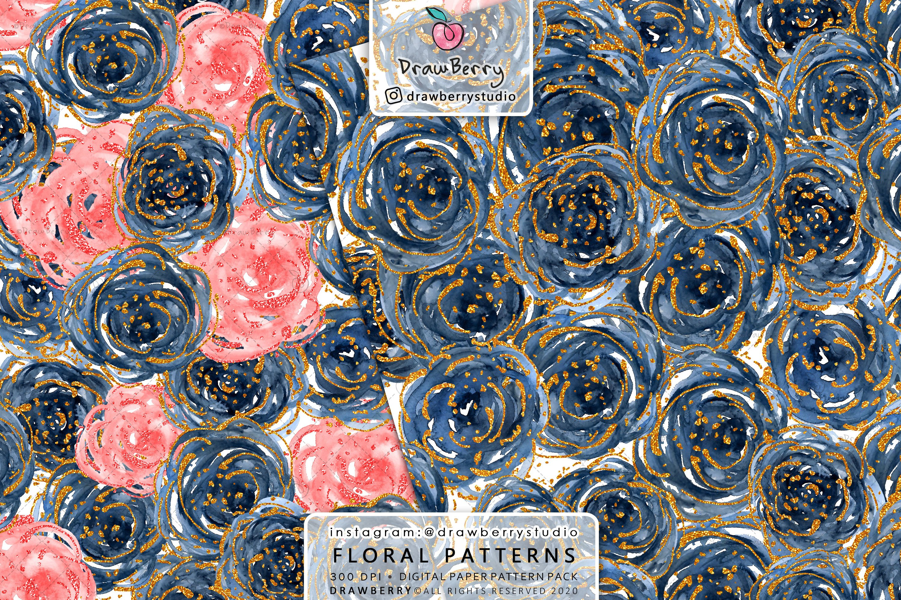 Watercolor Floral Pattern Pack example image 3