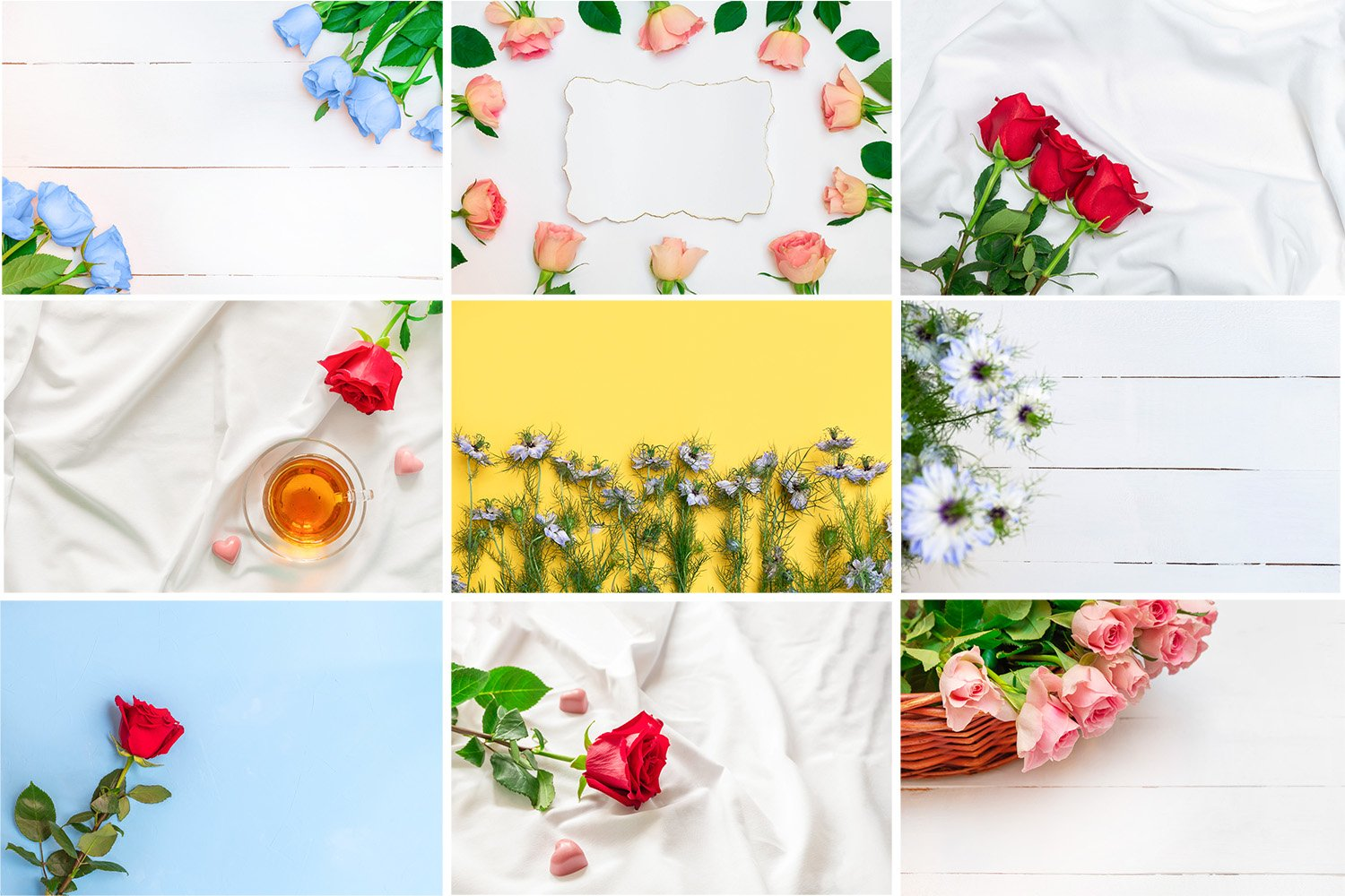 Bundle of 9 romantic images with flowers backgrounds example image 1