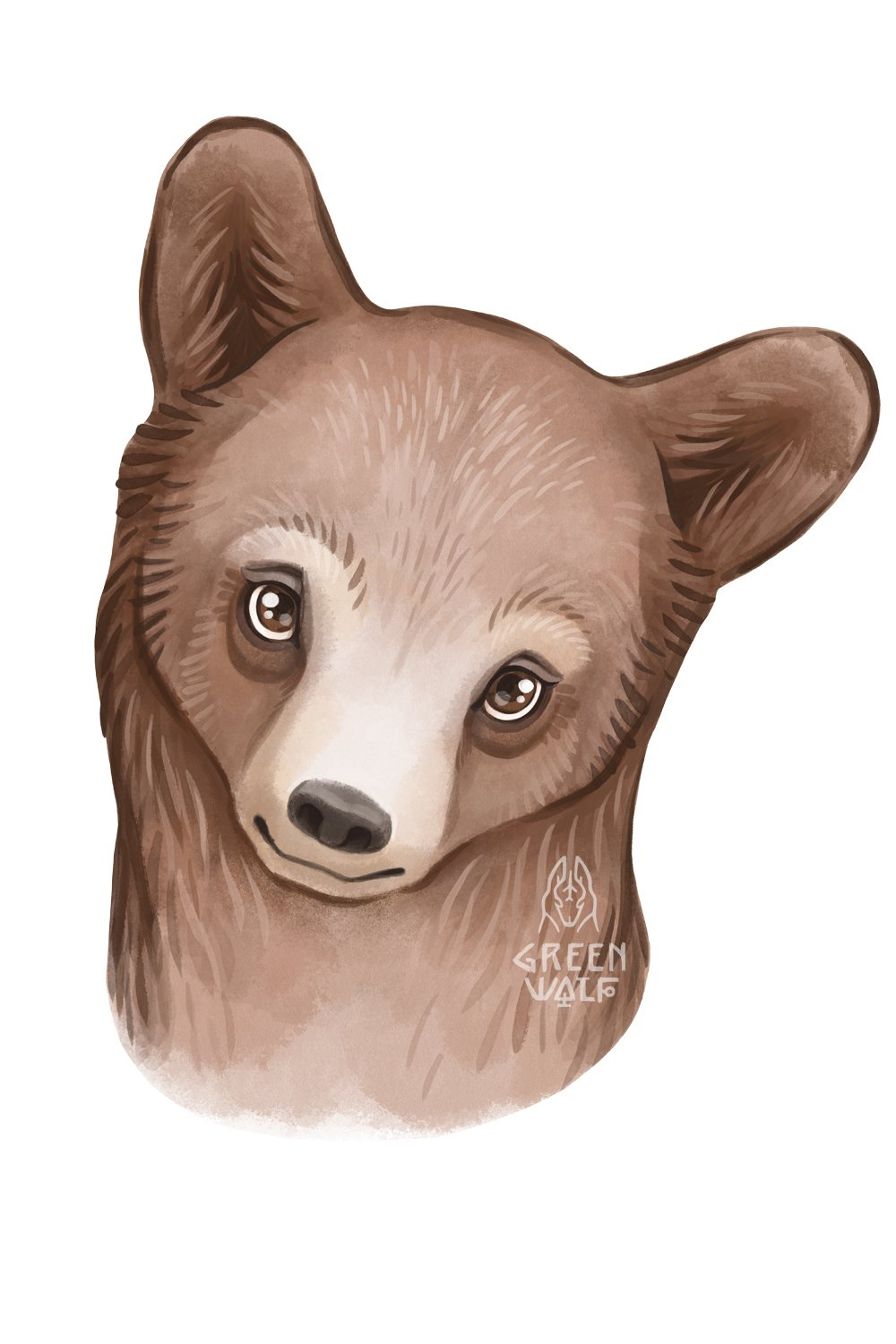 Grizzly bear watercolor illustration Woodland nursery decor example image 7