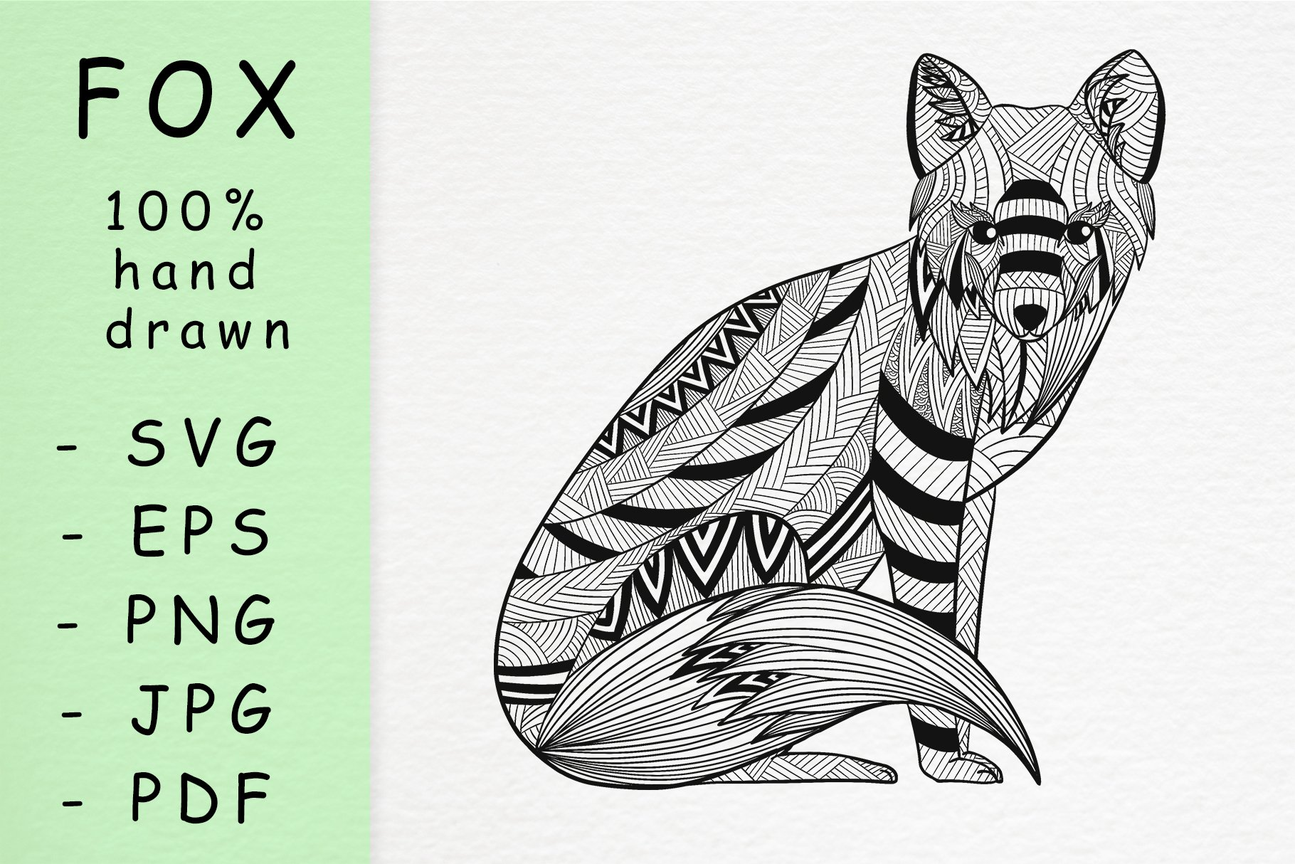 Hand drawn Fox head with patterns example image 1
