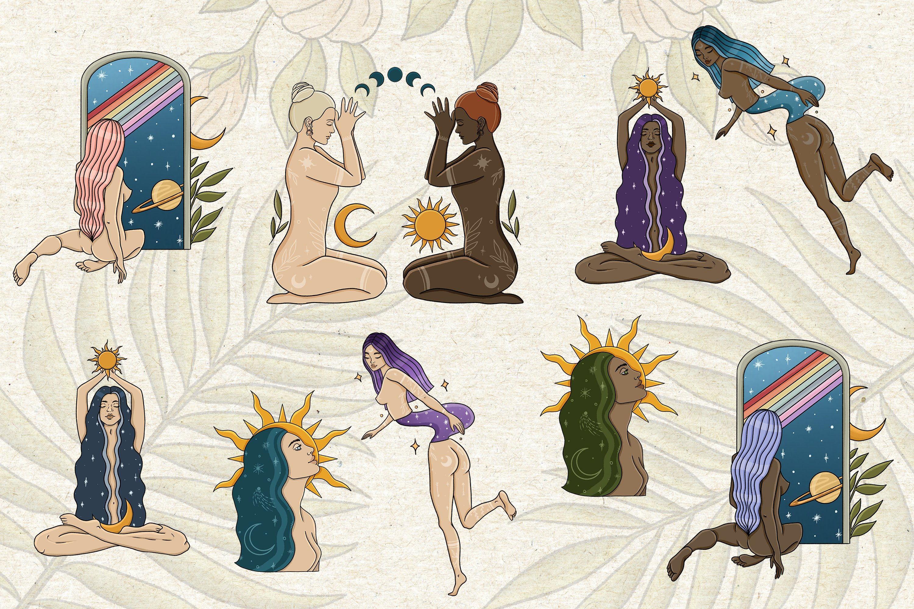 Female magic vibes clipart, Witch clipart, woman clipart example image 3