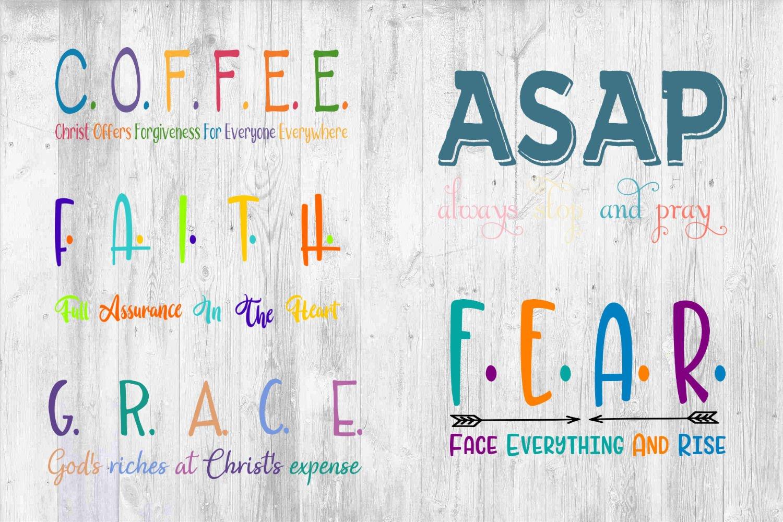 Christian Acronym Bundle Grace Fear Asap Faith Coffee 95323 Svgs Design Bundles