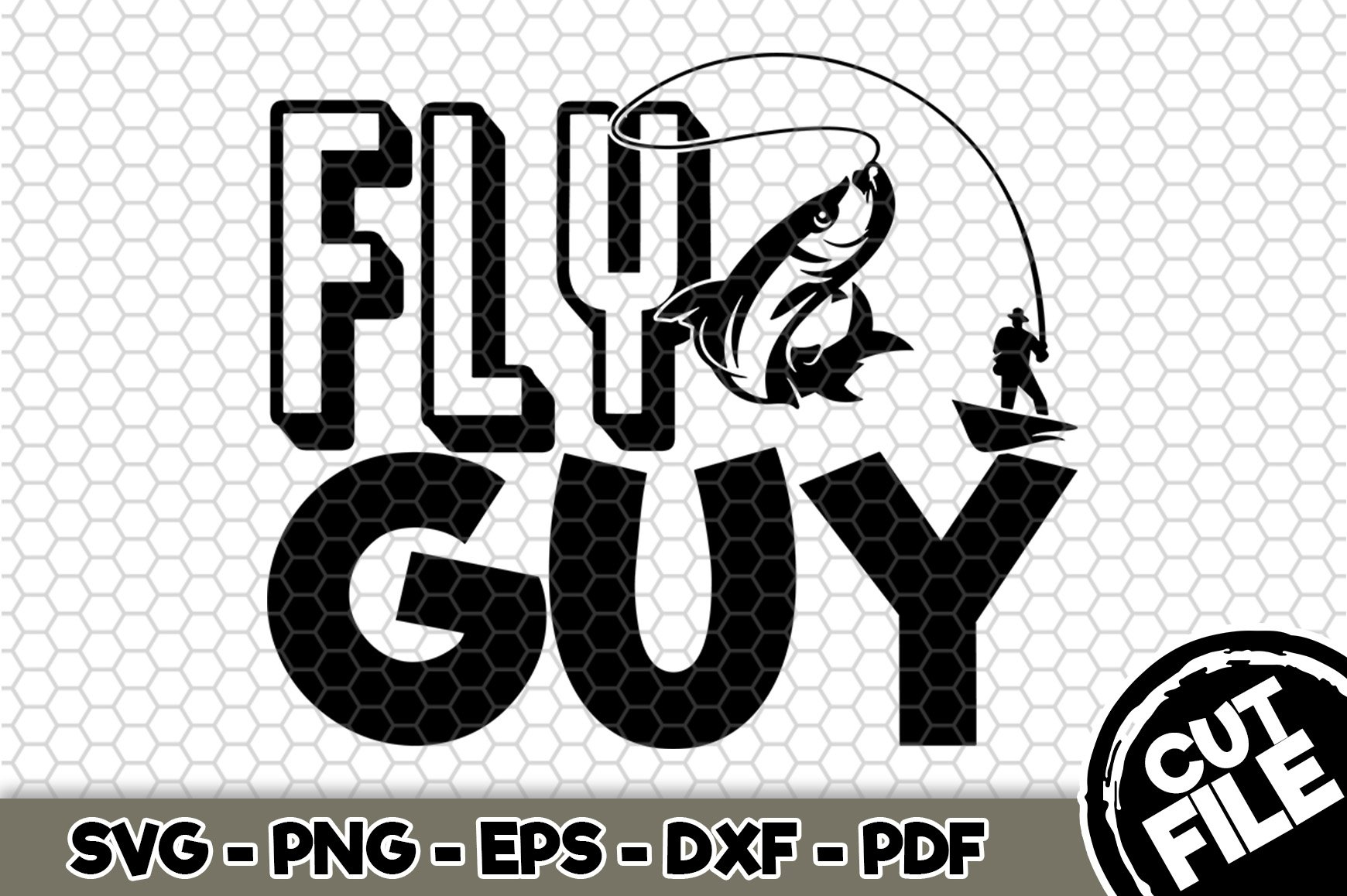 Download Fishing Cut File Svg Cut File Cricut D230 Cameo Lake Svg File For Silhouette Fly Guy Svg Clip Art Art Collectibles