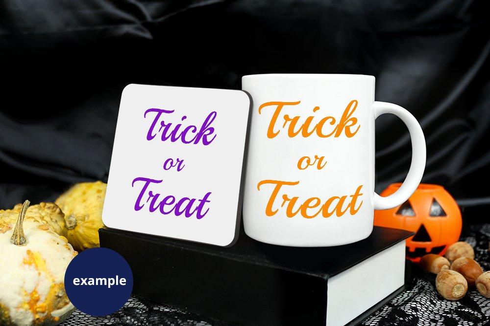 Mug & Coaster Mockup Halloween, Fall Square coaster mockup example image 2