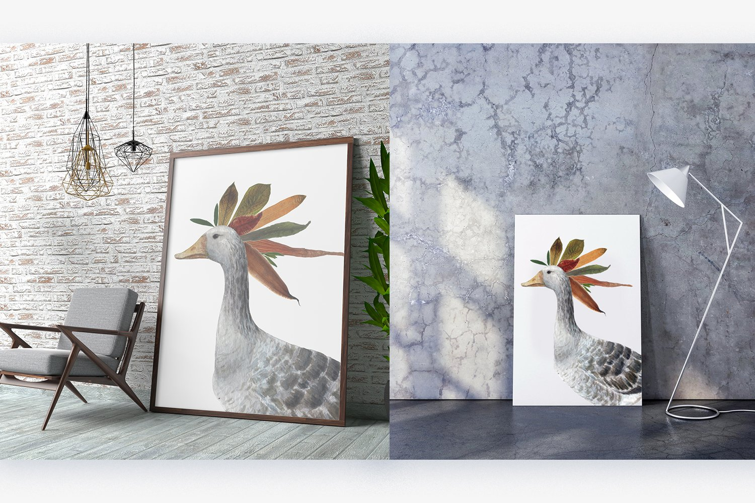 Geese and dried leaves set. Autumn inside. example image 8